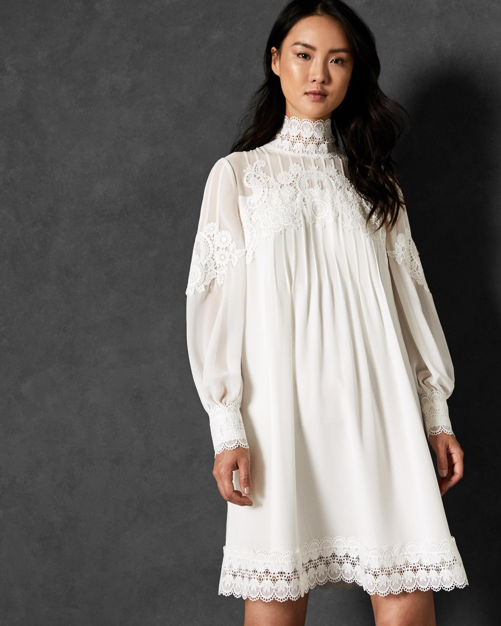 9234a87f09f Ted Baker High Neck Lace Tunic Dress in White - Lyst