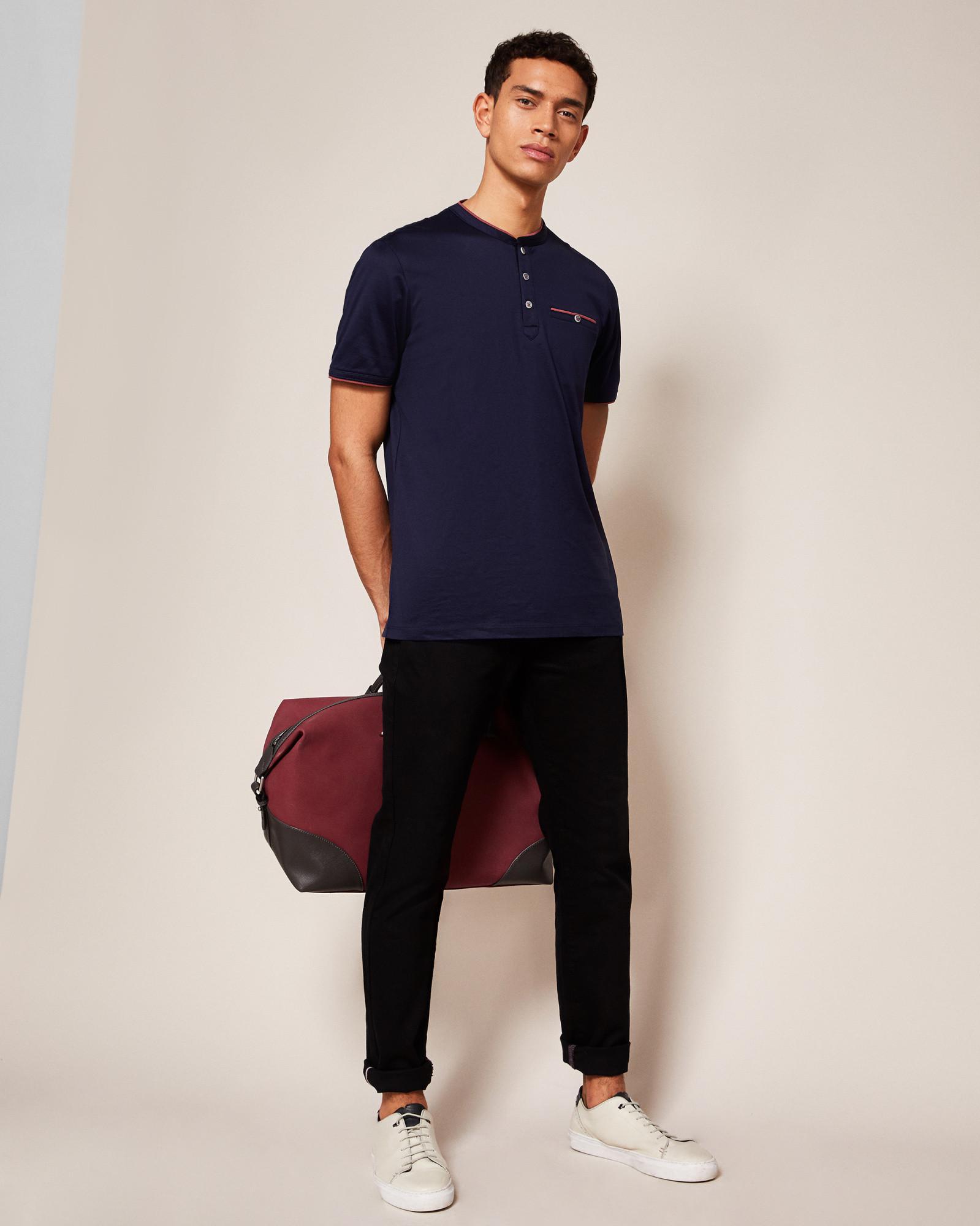 Ted Baker Henley Neck Cotton T-shirt in Navy (Blue) for Men