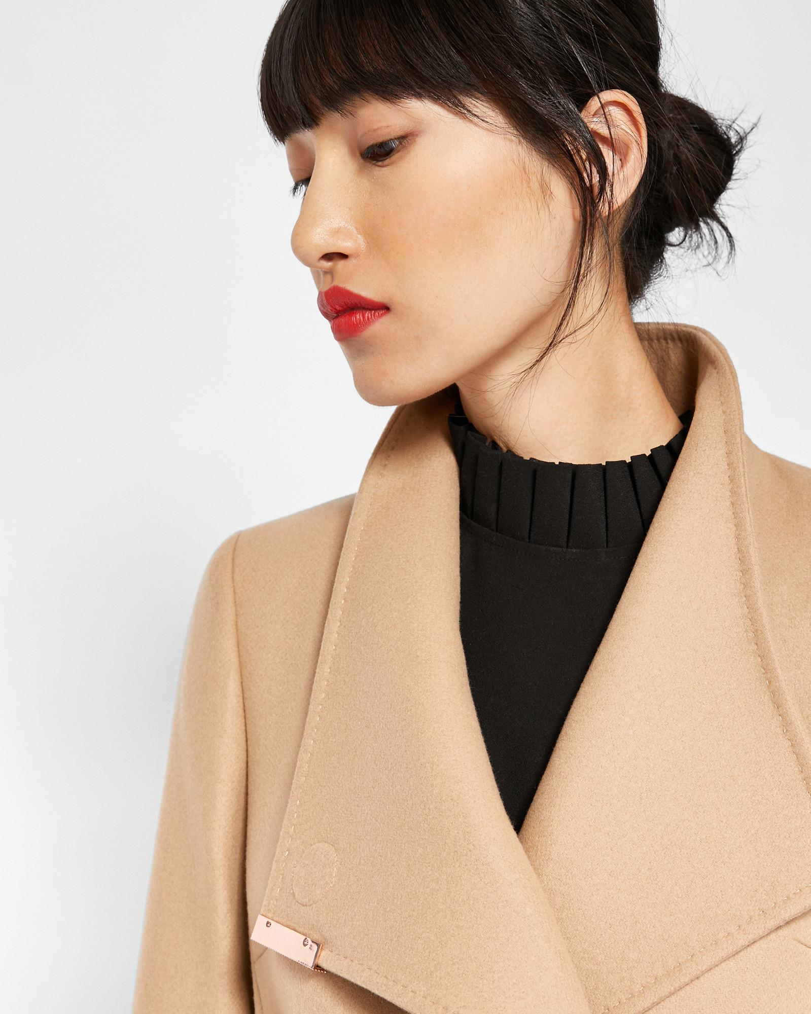 4ee9025850538b Ted Baker Cashmere-blend Wrap Front Coat in Natural - Lyst