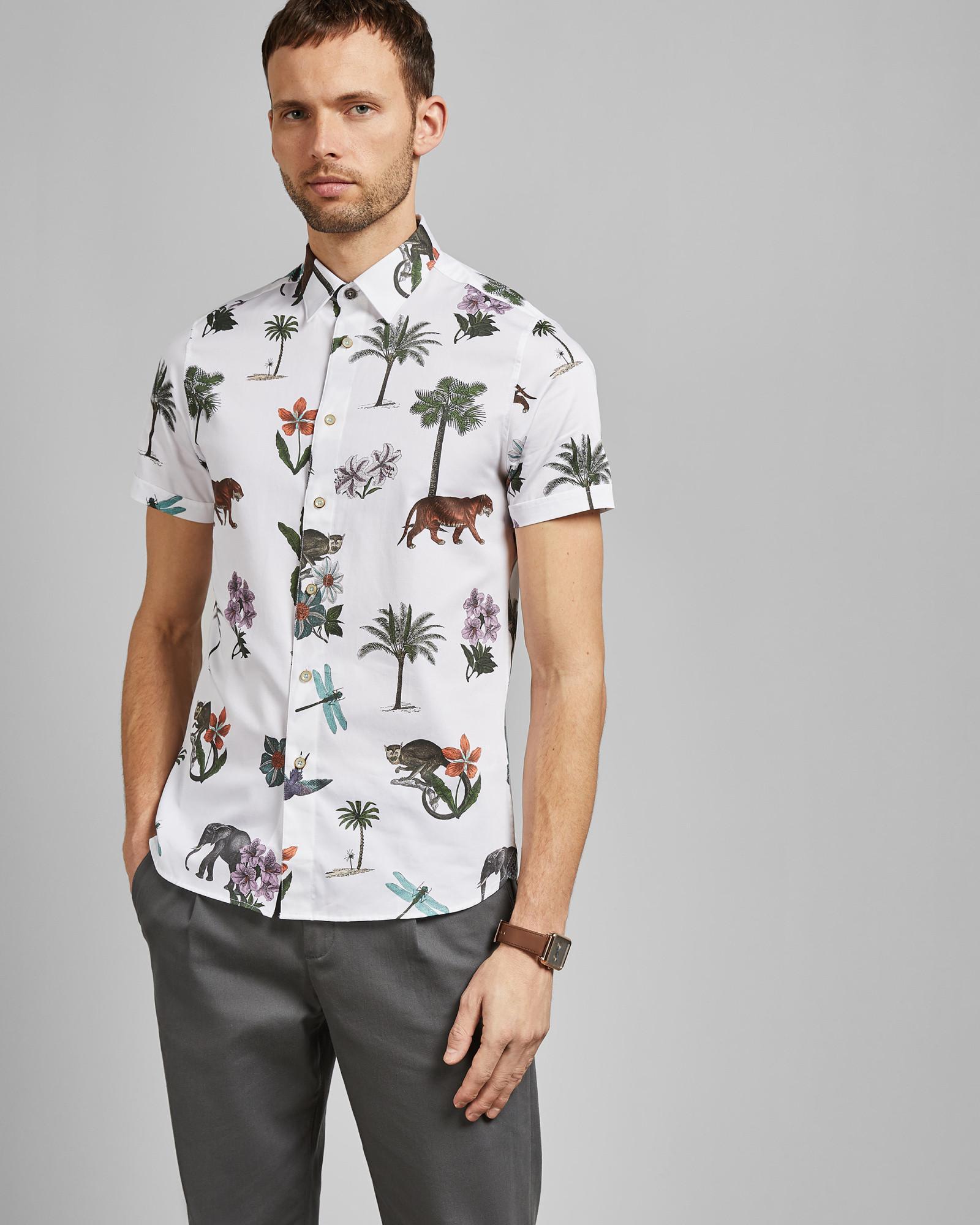 3e840724 Ted Baker - White Short Sleeved Jungle Print Cotton Shirt for Men - Lyst.  View fullscreen
