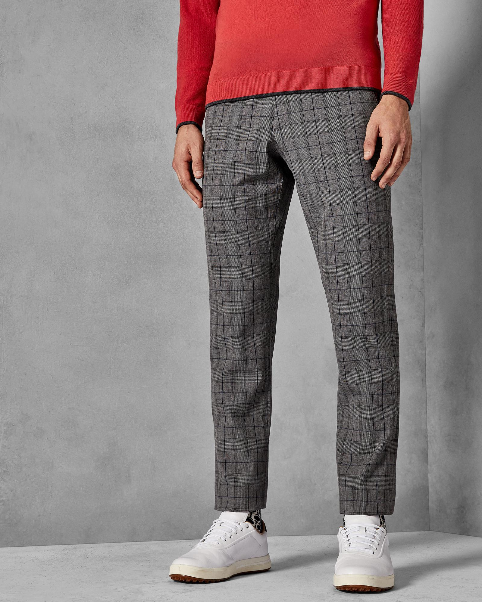 2663a3a74767 Ted Baker Golf Two Tonal Check Trousers in Gray for Men - Lyst