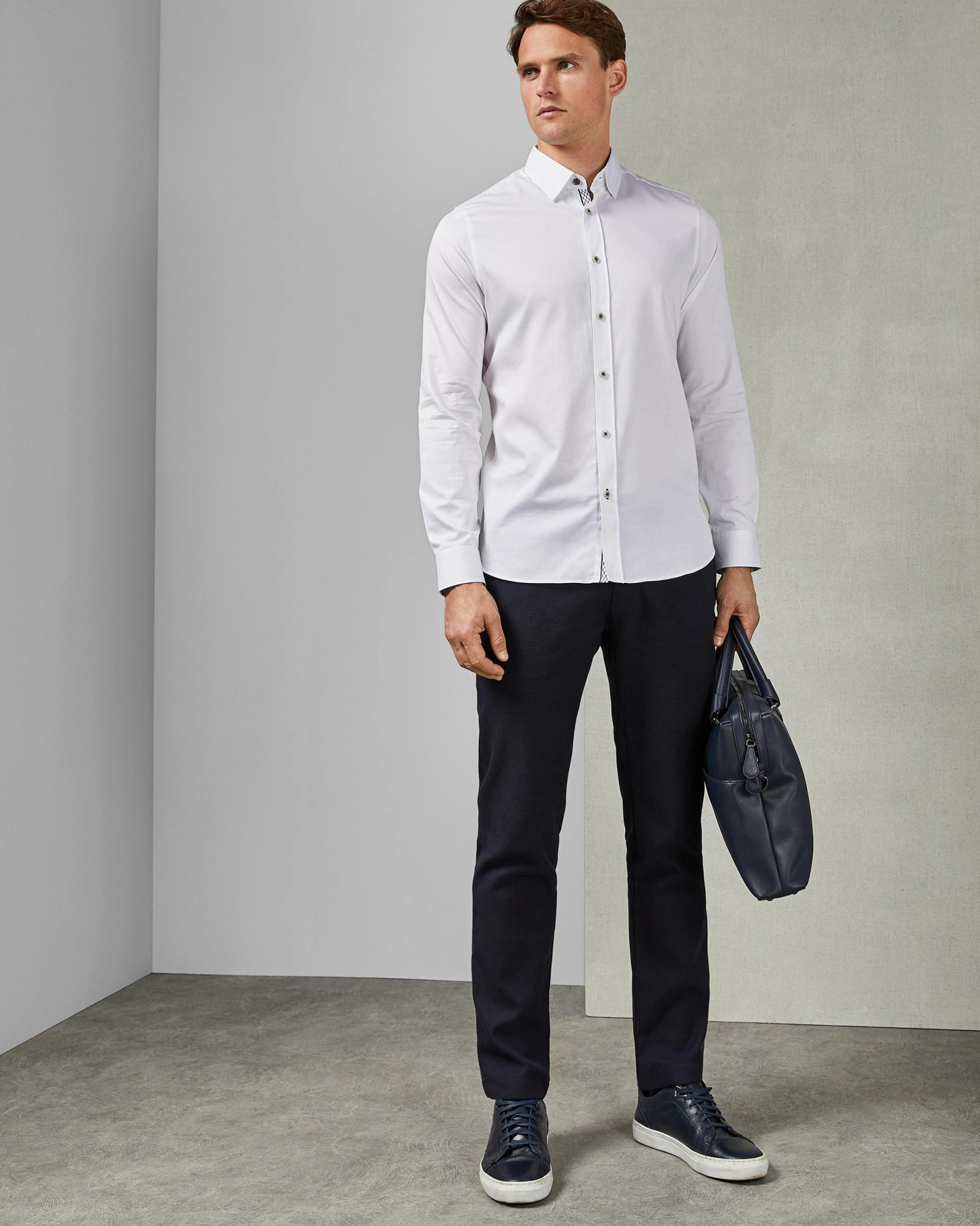 f15bc8ef038e4c Lyst - Ted Baker Satin Effect Cotton Stretch Shirt in White for Men
