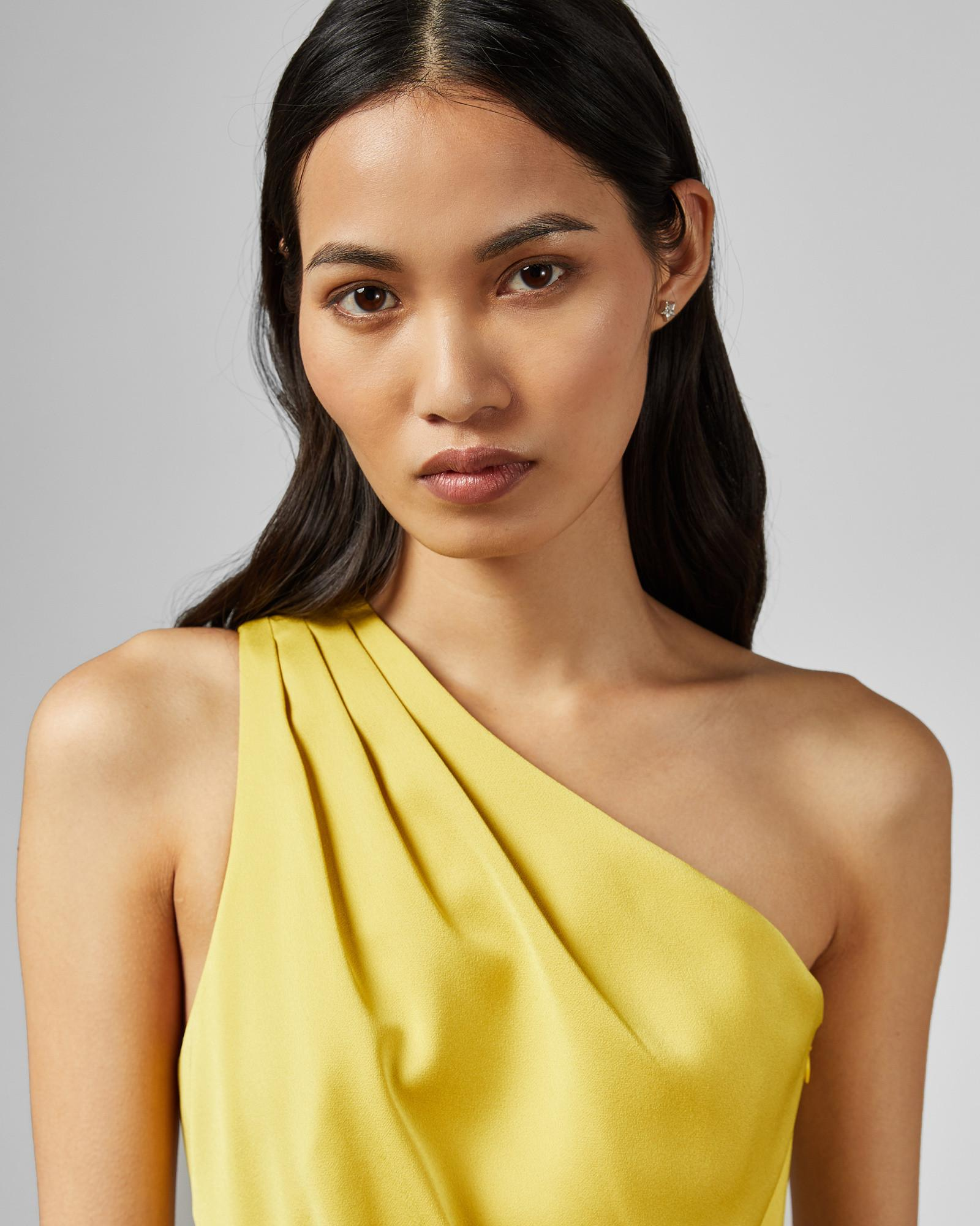 3c2c2a12e Ted Baker One Shoulder Drape Midi Dress in Yellow - Lyst