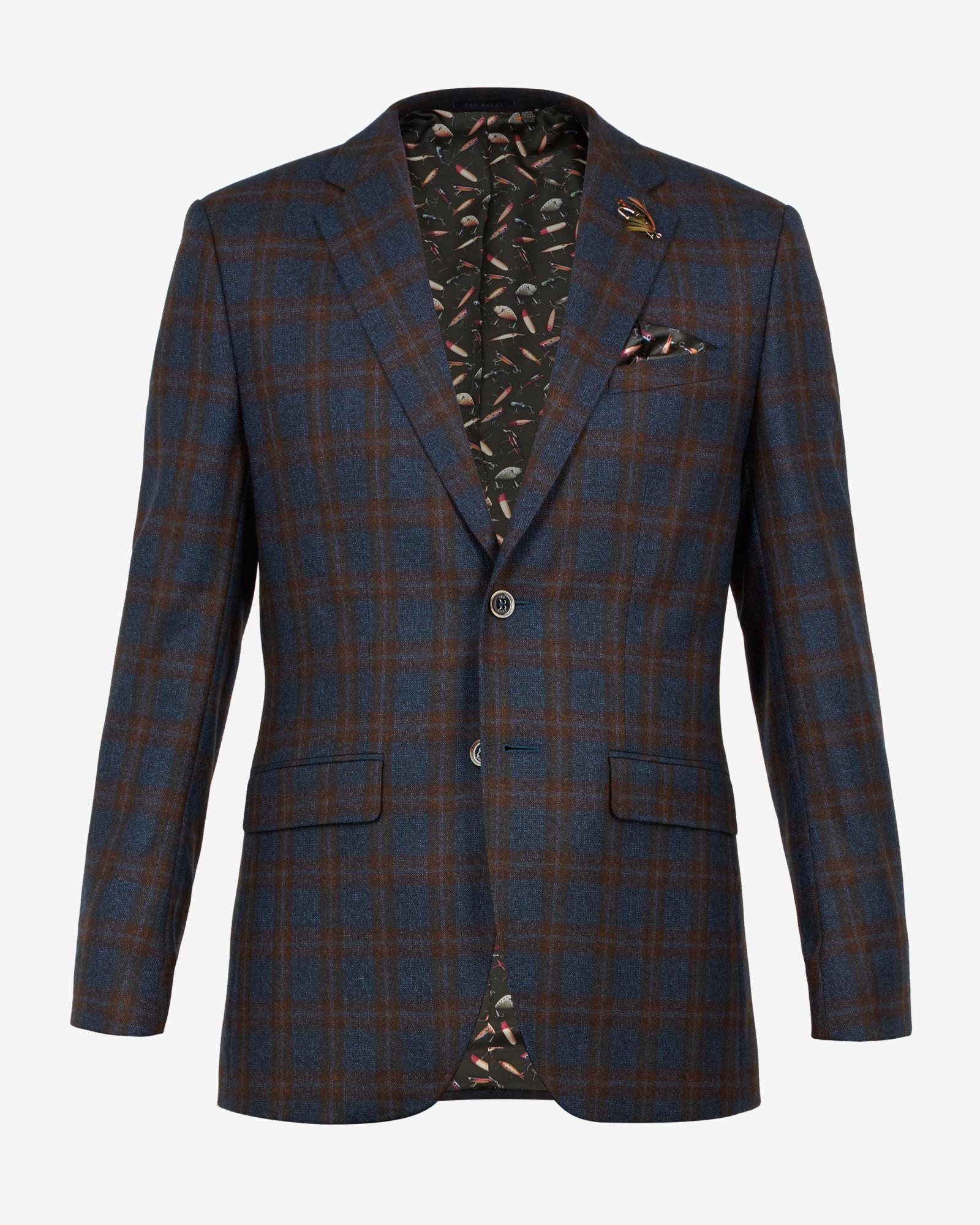 Ted Baker Wool Checked Suit Jacket in Teal (Blue) for Men