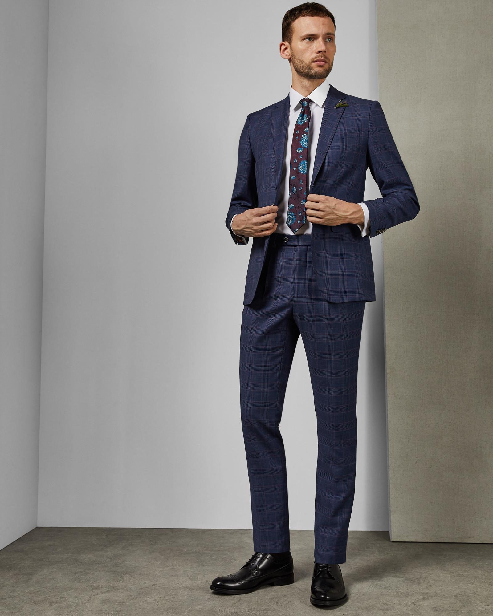 2f7d7ef53 Ted Baker Tightlines Check Wool Suit Trousers in Blue for Men - Lyst