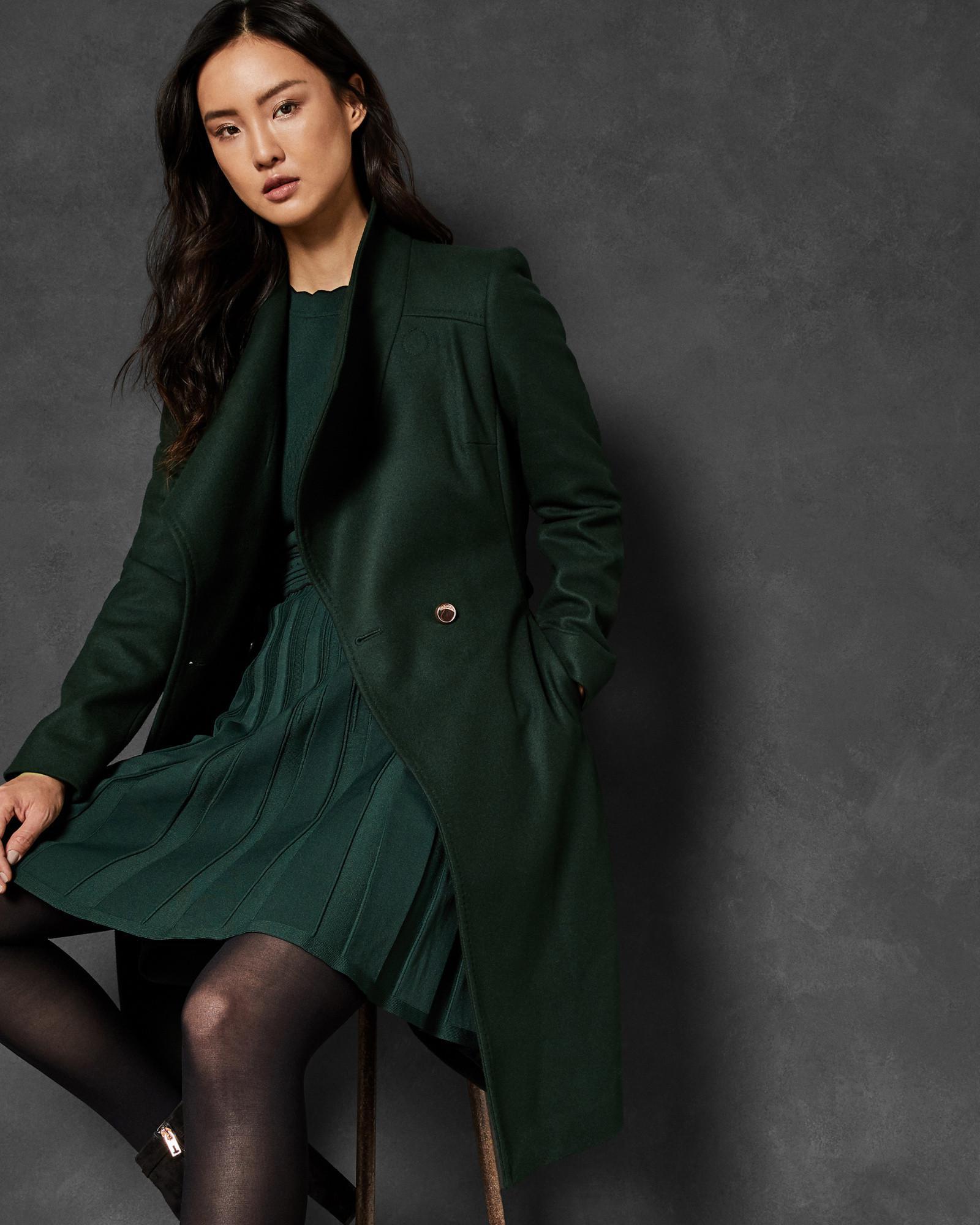 d493372d2e1286 Lyst - Ted Baker Midi Wool Wrap Coat in Green