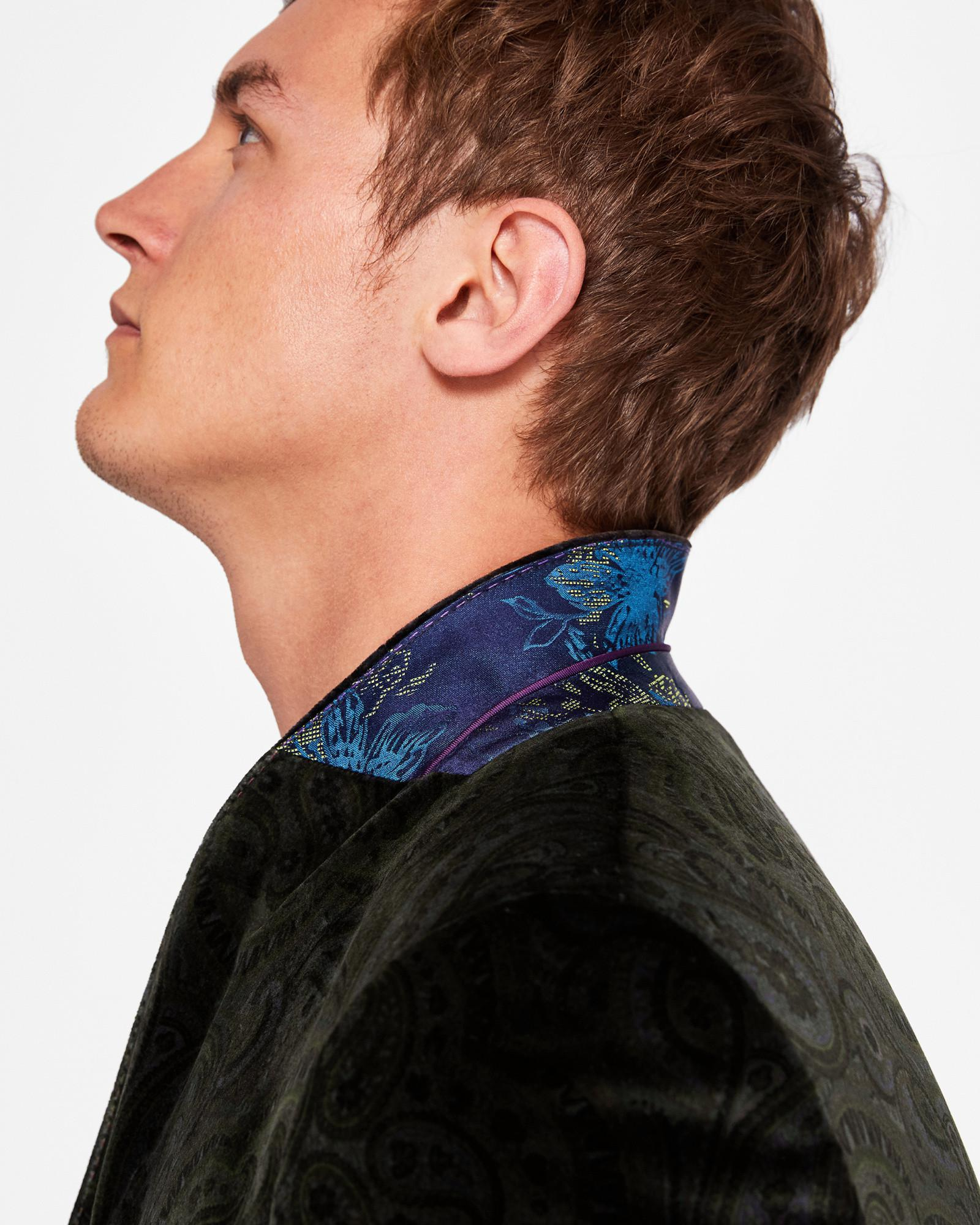 Ted Baker Global Luxe Paisley Velvet Jacket in Khaki (Black) for Men
