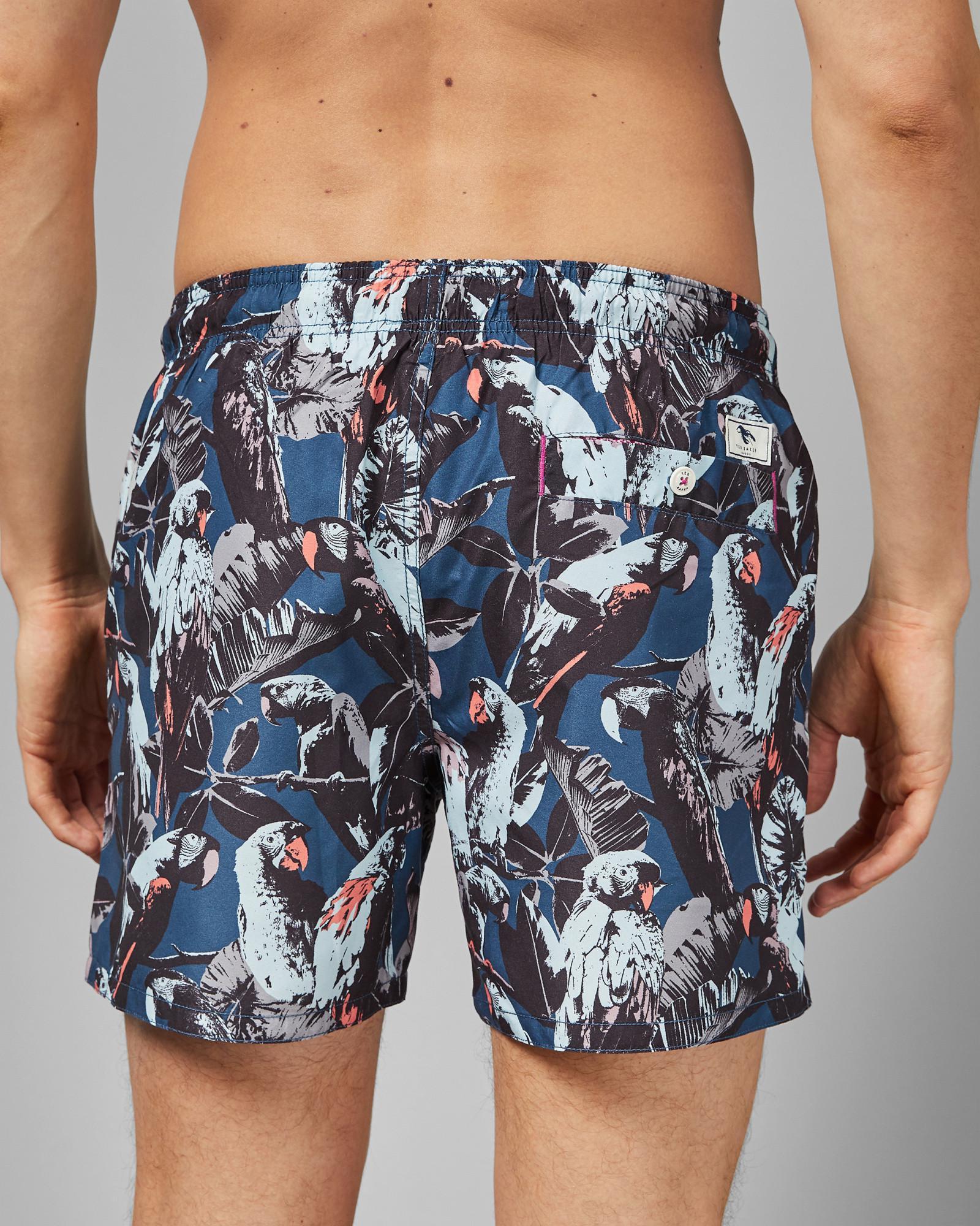 b10b114ec11 Lyst - Ted Baker Coastal Parrot Print Shorty Swim Shorts in Blue for Men