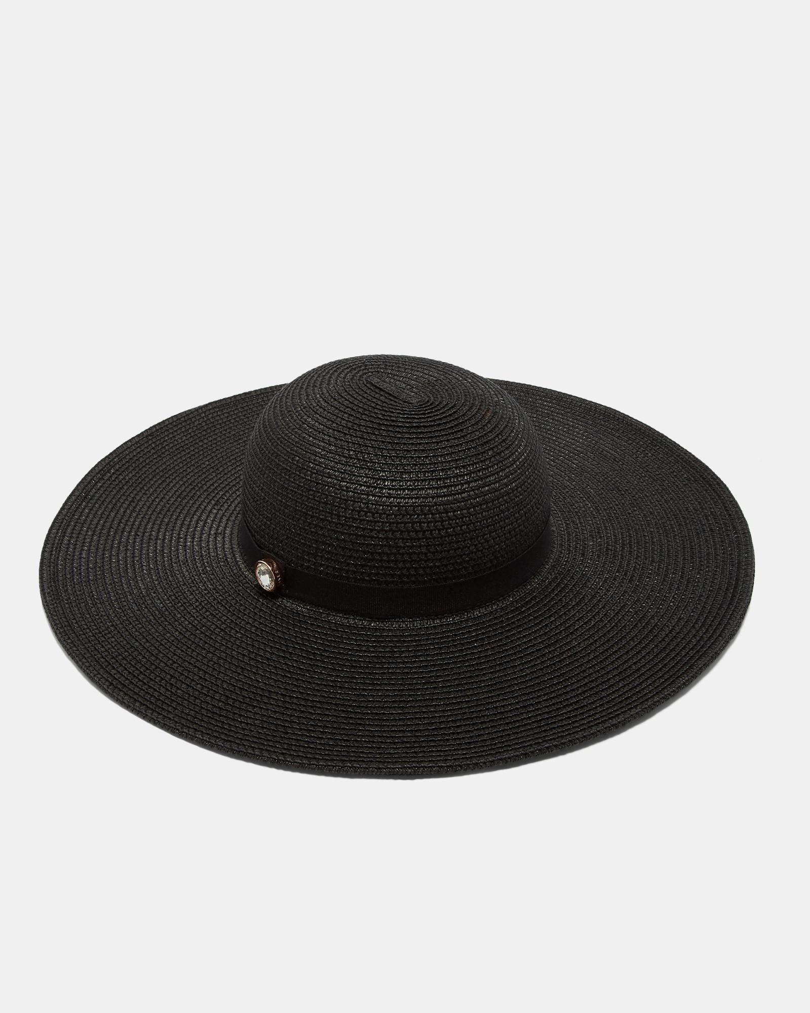 7843e58c35198 Lyst - Ted Baker Gem Detail Floppy Hat in Black