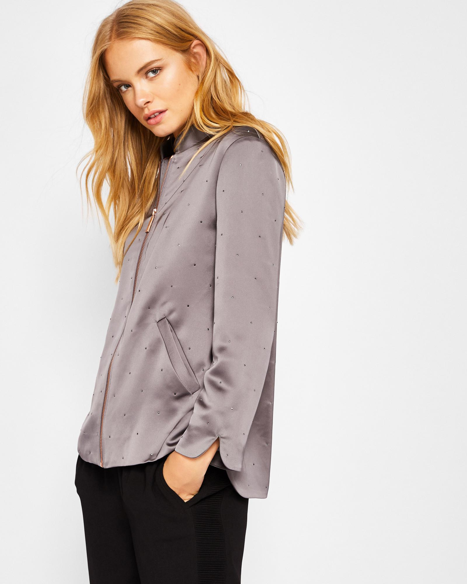36146897c Ted Baker Embellished Bomber Jacket in Gray - Lyst