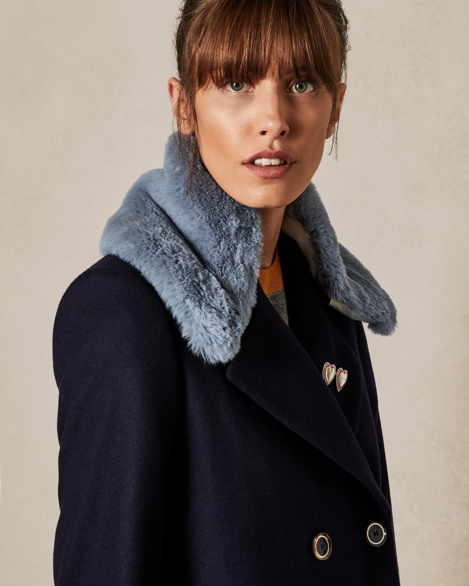 6702b63a43fe9 Ted Baker Faux Fur Collar in Blue - Lyst