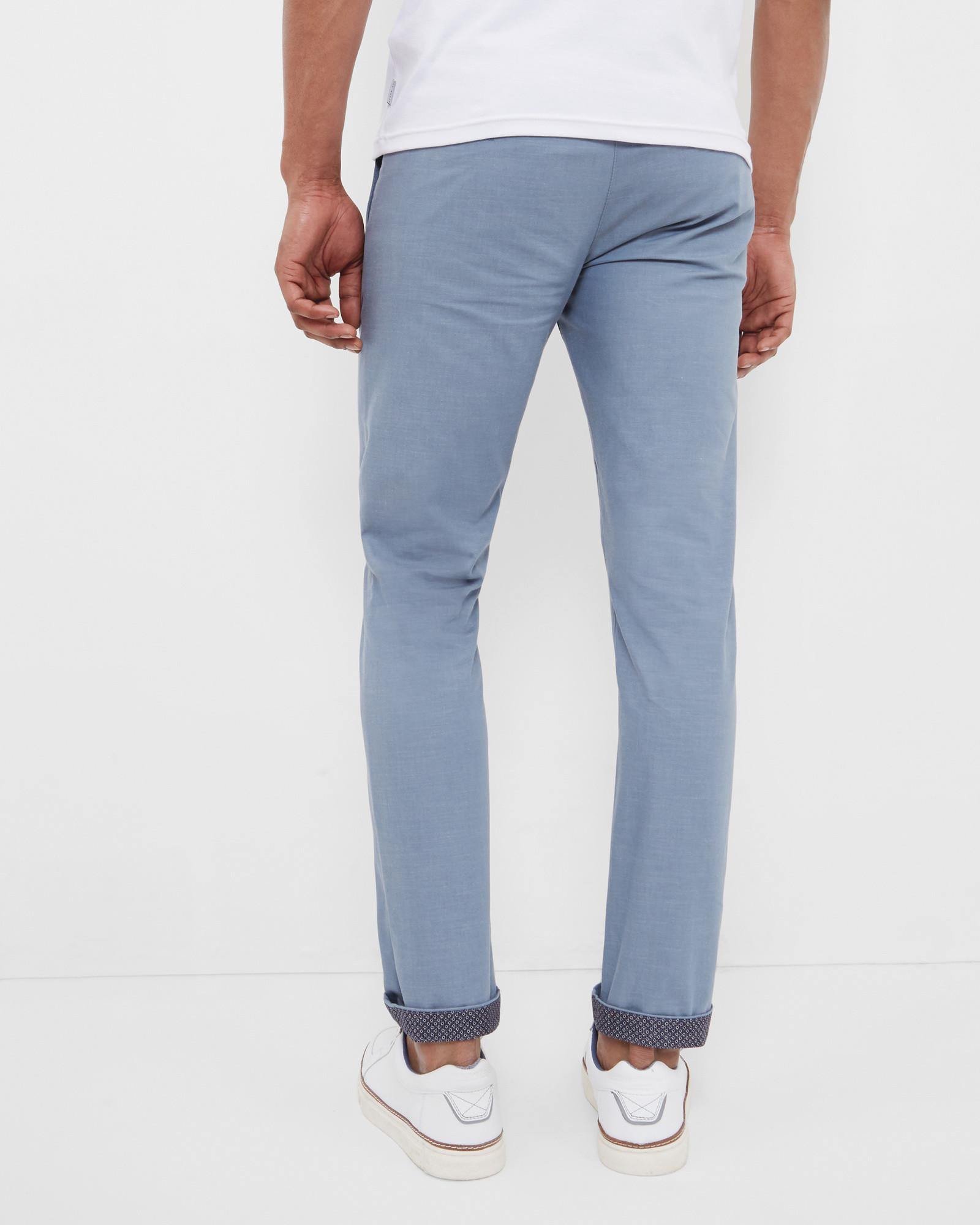Ted Baker Cotton Slim Fit Trousers in Blue for Men