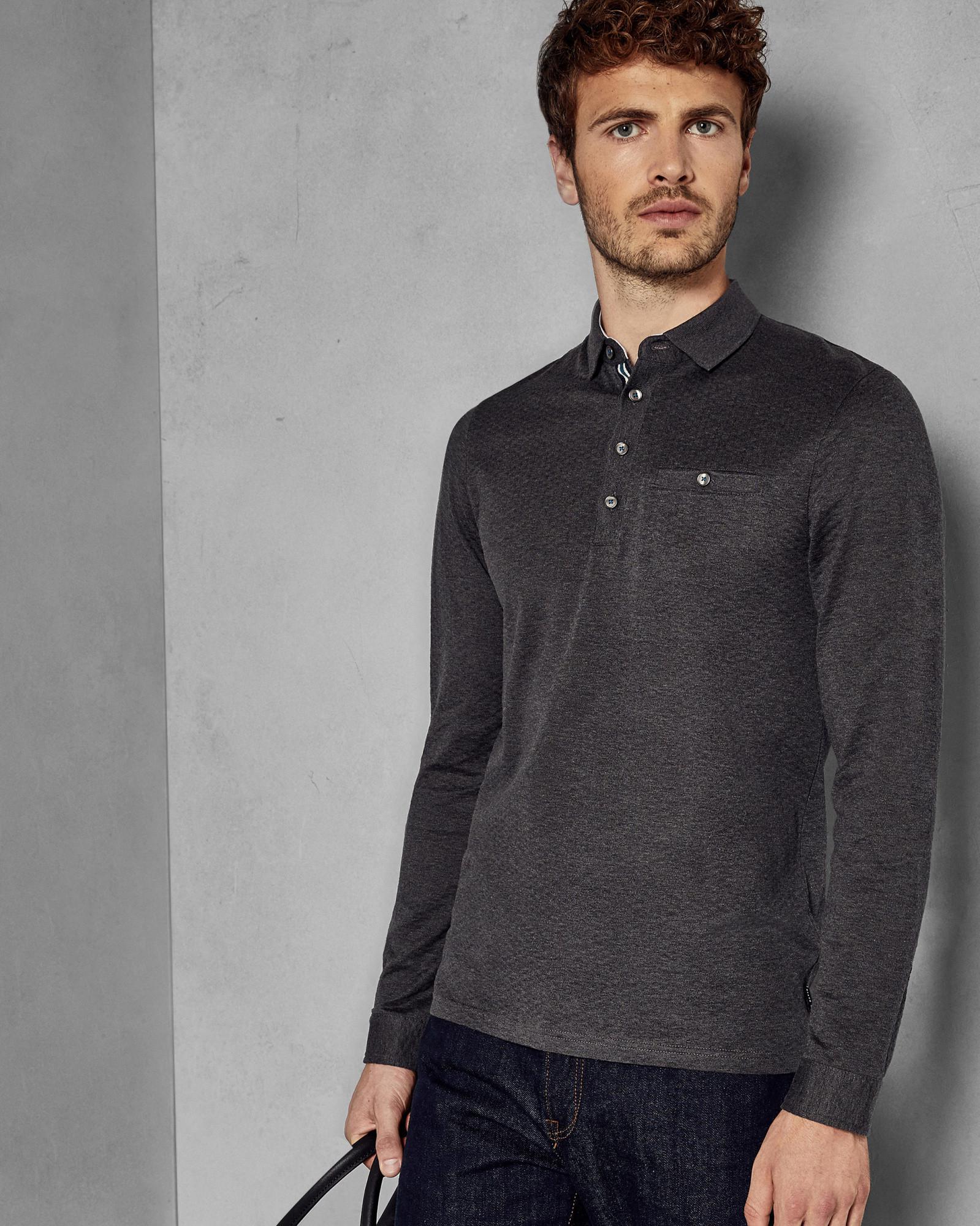 85792ed2e38fee Lyst - Ted Baker Long Sleeved Cotton Polo Shirt in Gray for Men