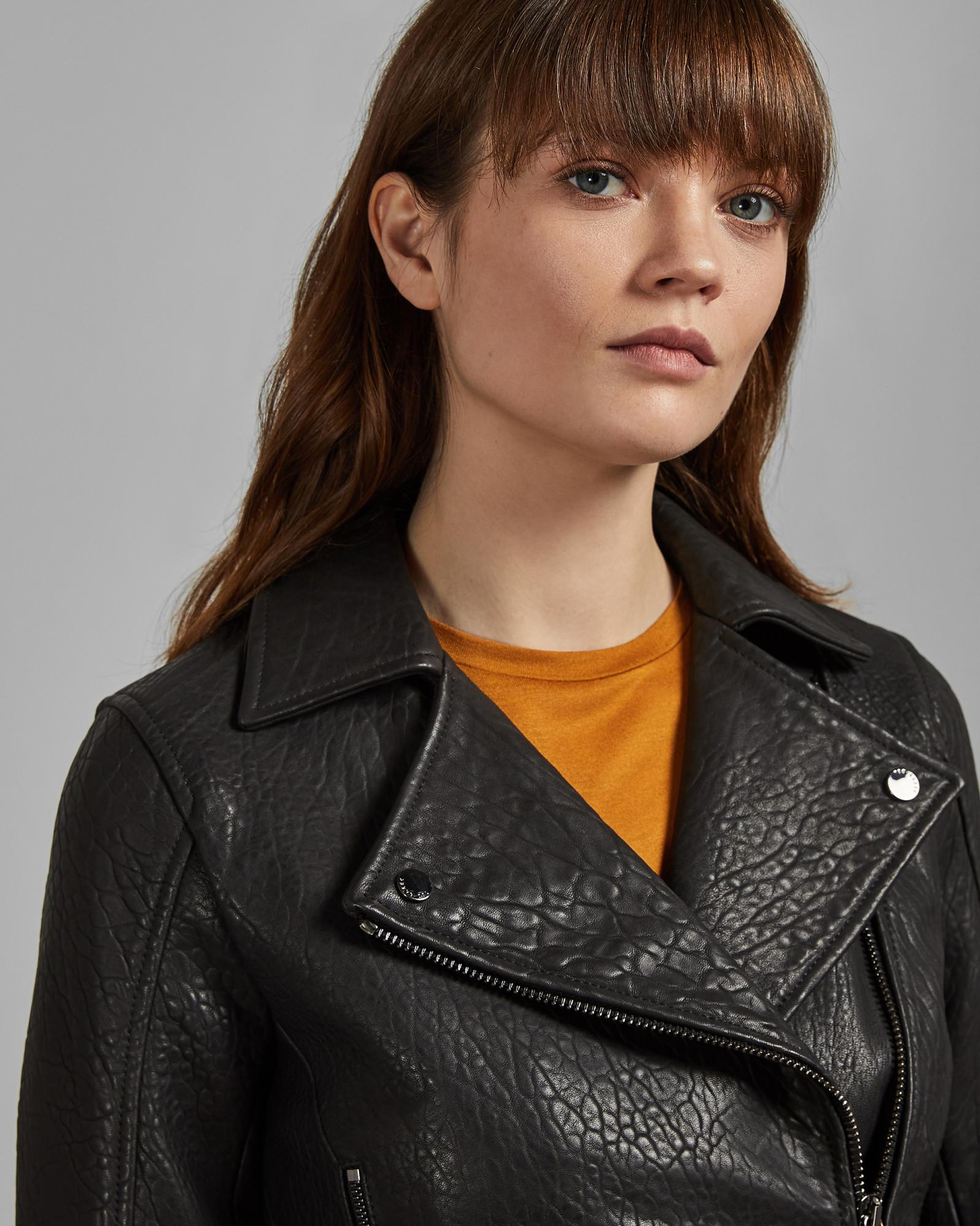 86f5d52bc ... Black Bubble Leather Biker Jacket - Lyst. View fullscreen
