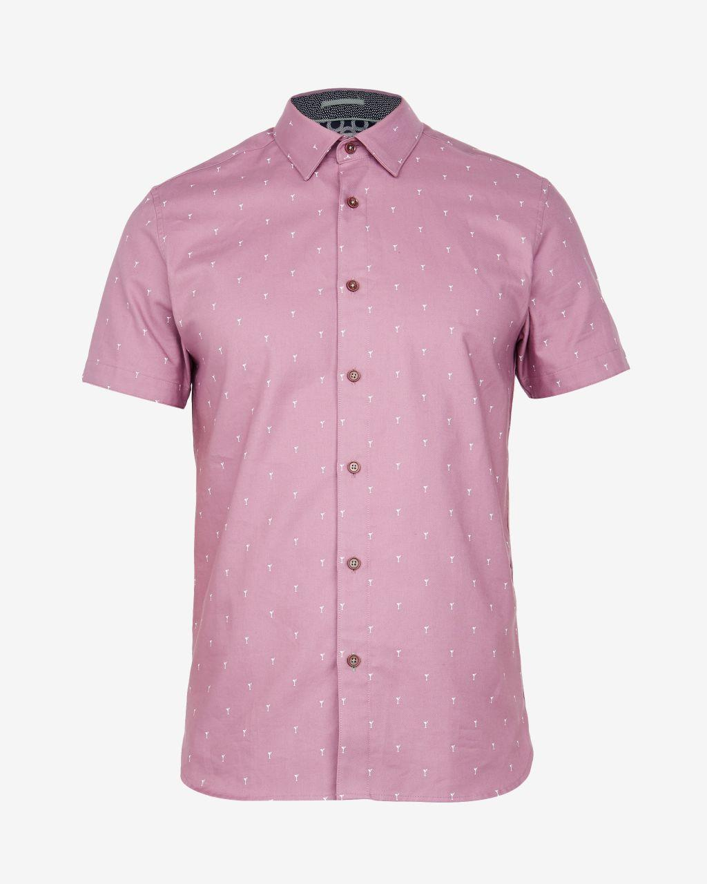 Ted Baker Cocktail Print Cotton Shirt in Pink for Men