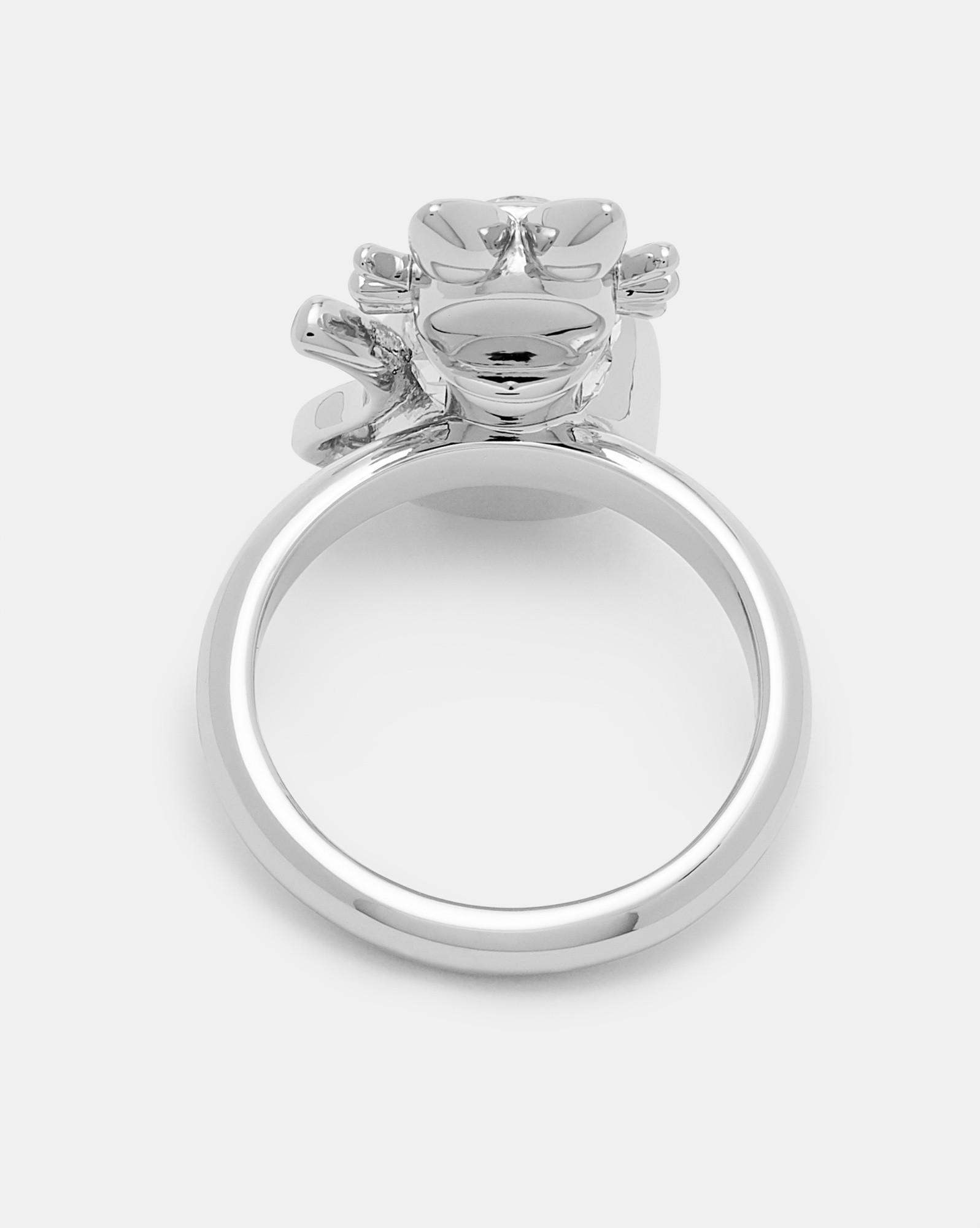 Ted Baker Crystal Cat Ring in Metallic