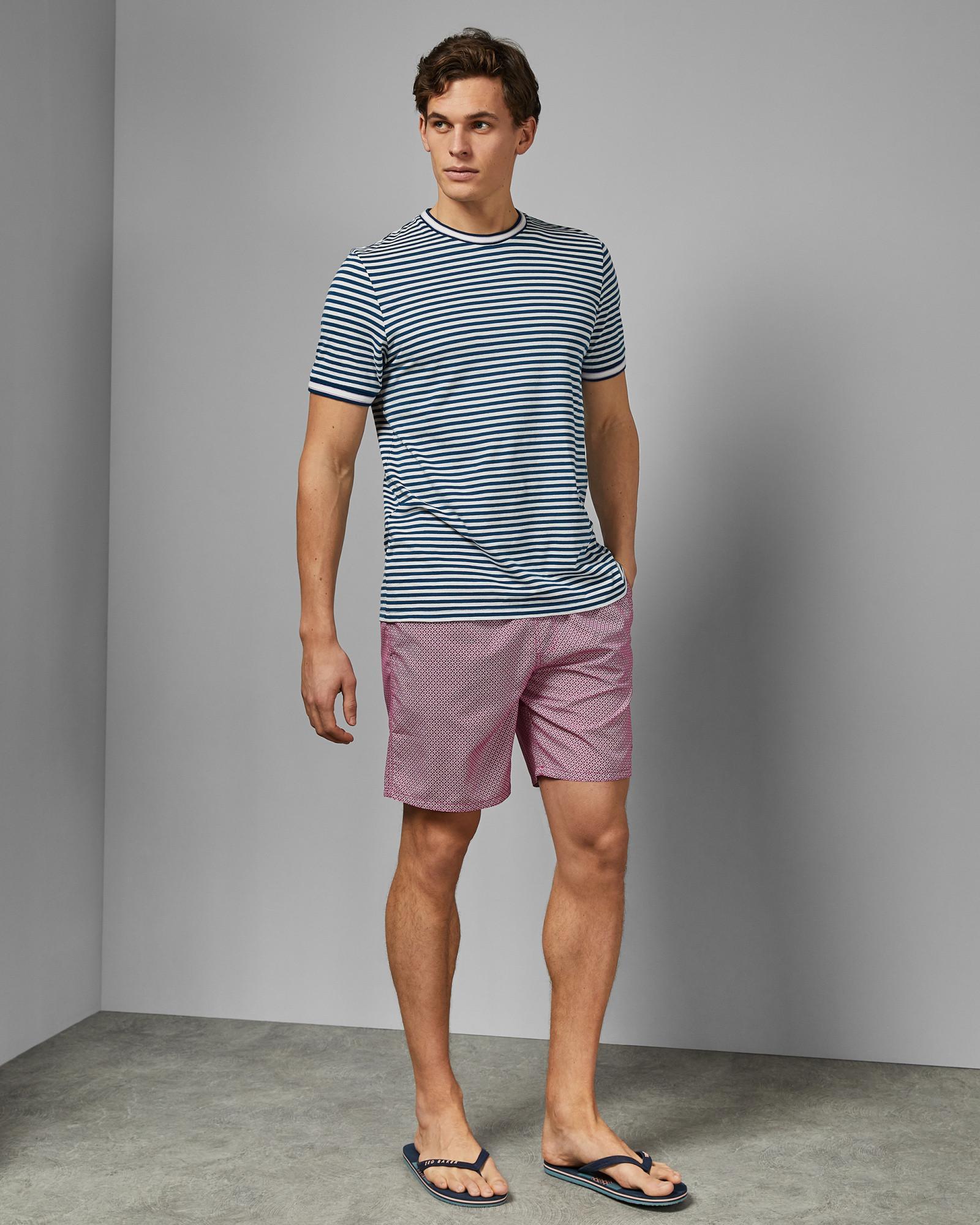 56d62f33db Ted Baker Geo Print Midi Swim Shorts in Pink for Men - Lyst