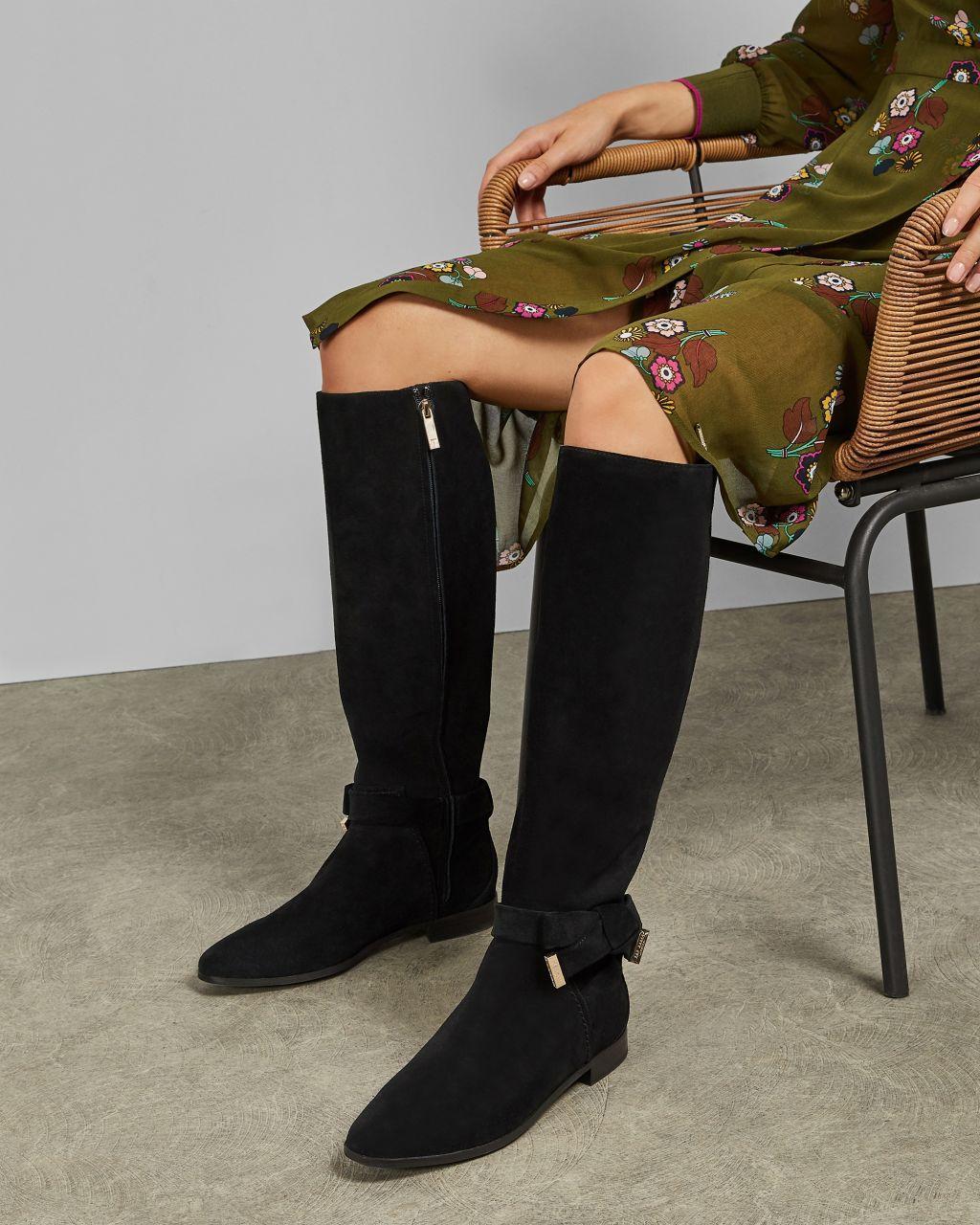 Botas Altas De Ante Con Detalle De Lazo Ted Baker de Tejido sintético de color Negro