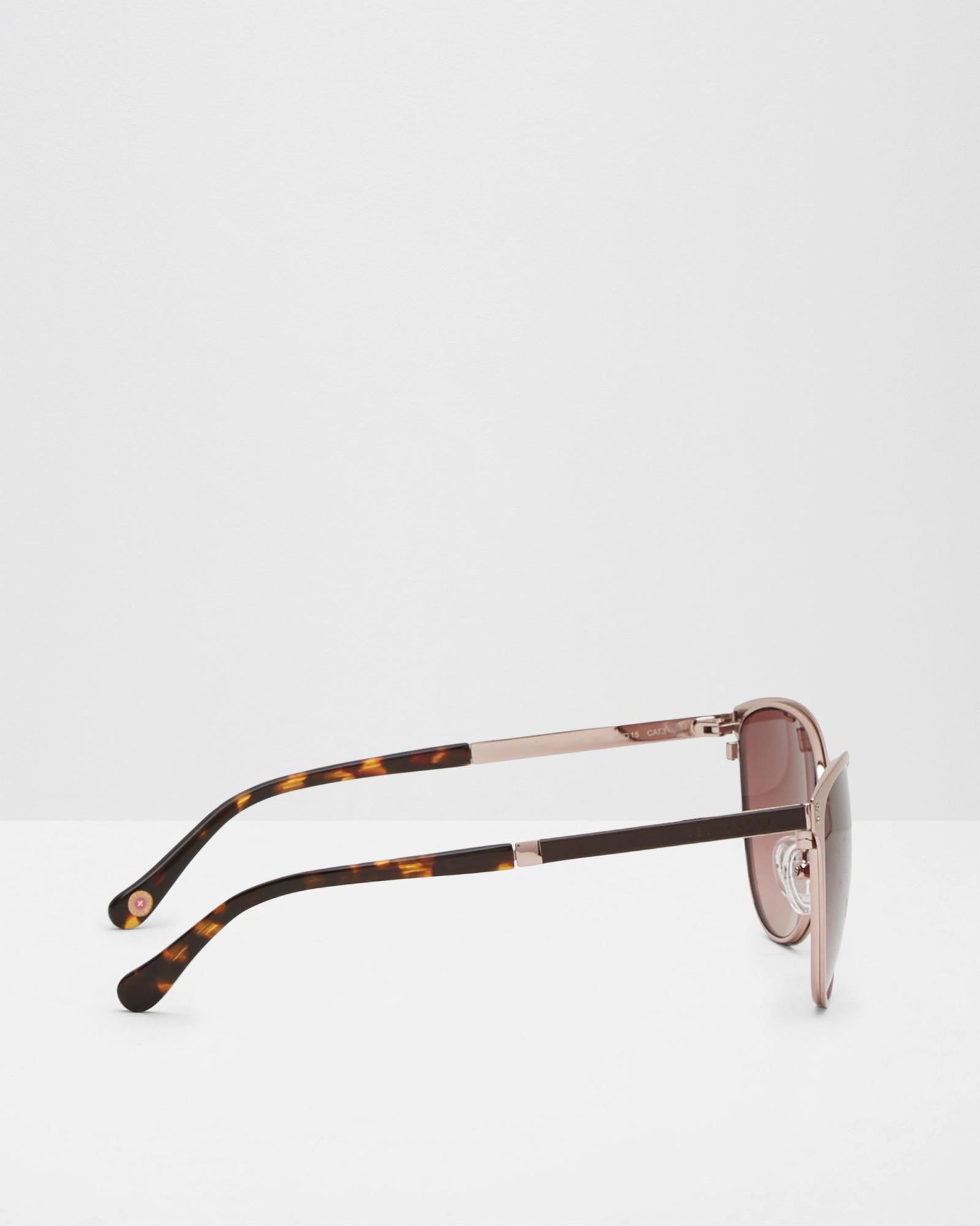 Ted Baker Round Frame Sunglasses in Rose Gold (Pink)