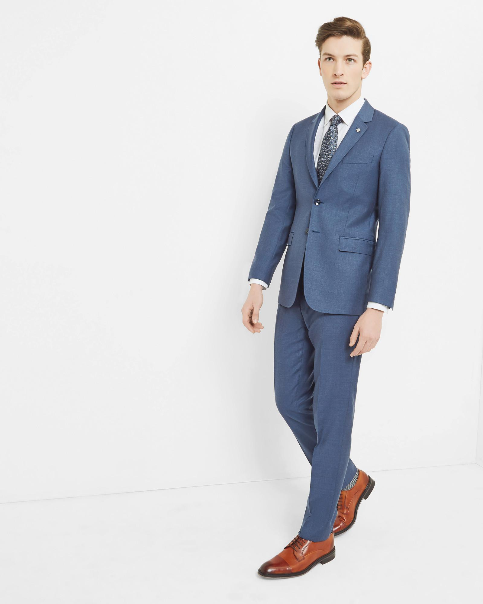 Ted Baker Debonair Textured Wool Trousers in Blue for Men