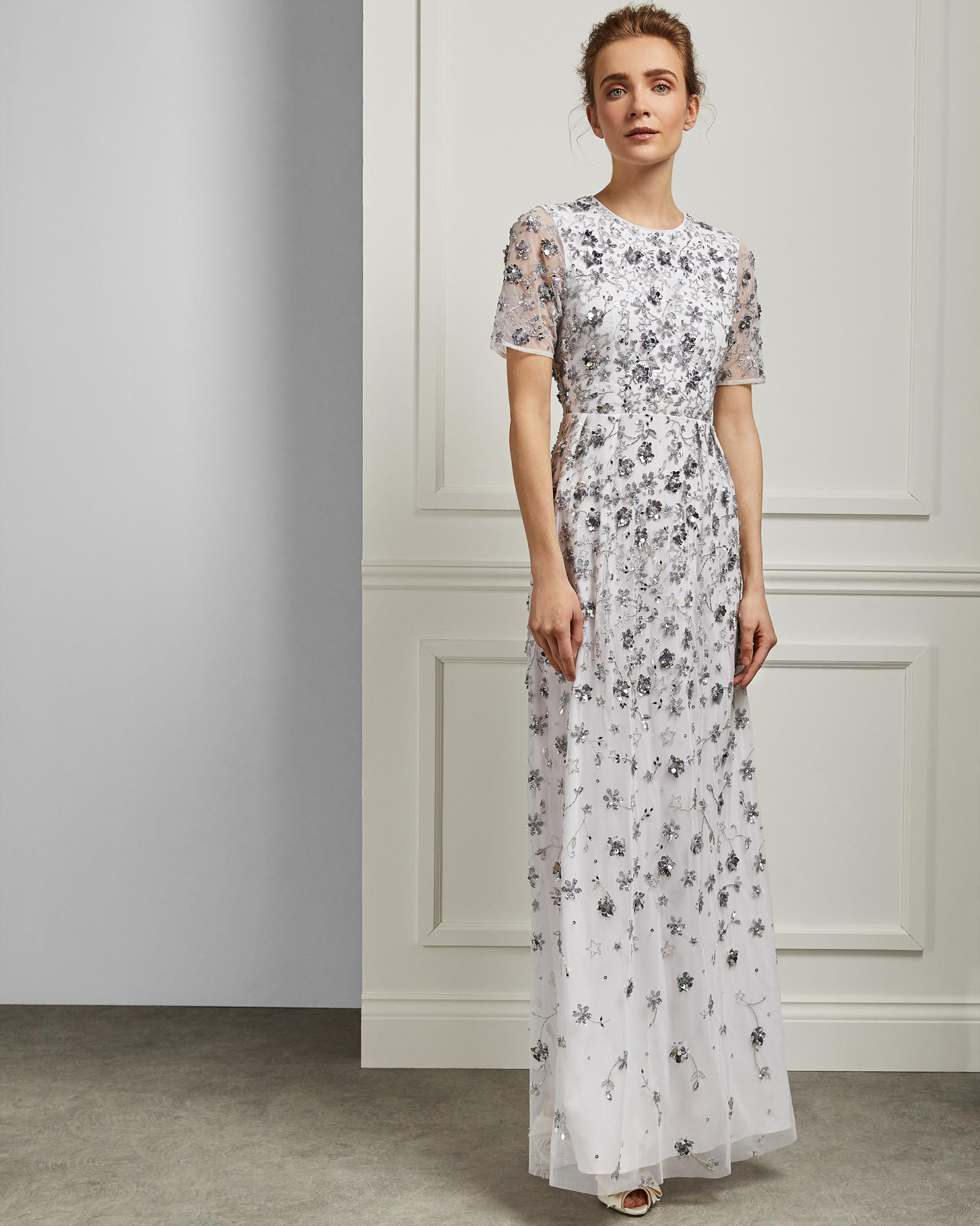 2c03dcd83 Ted Baker All-over Embellished Maxi Dress in White - Lyst