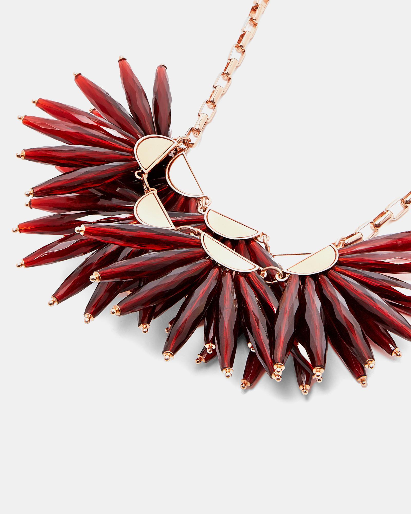 Ted Baker Flare Burst Necklace in Rose Gold/Red (Red)