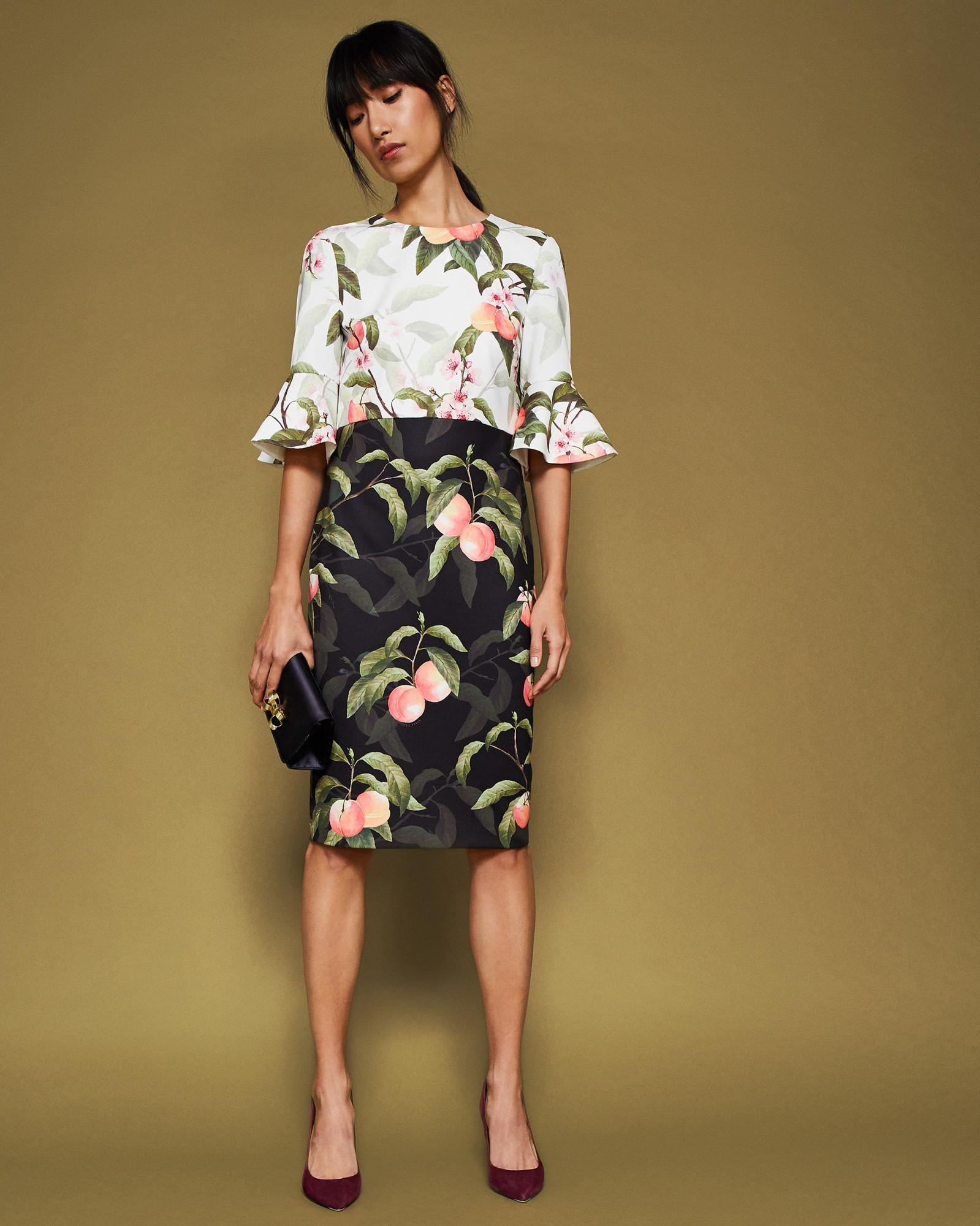 e1c04ced8309 Ted Baker Peach Blossom Fluted Sleeve Dress in Black - Save 26% - Lyst