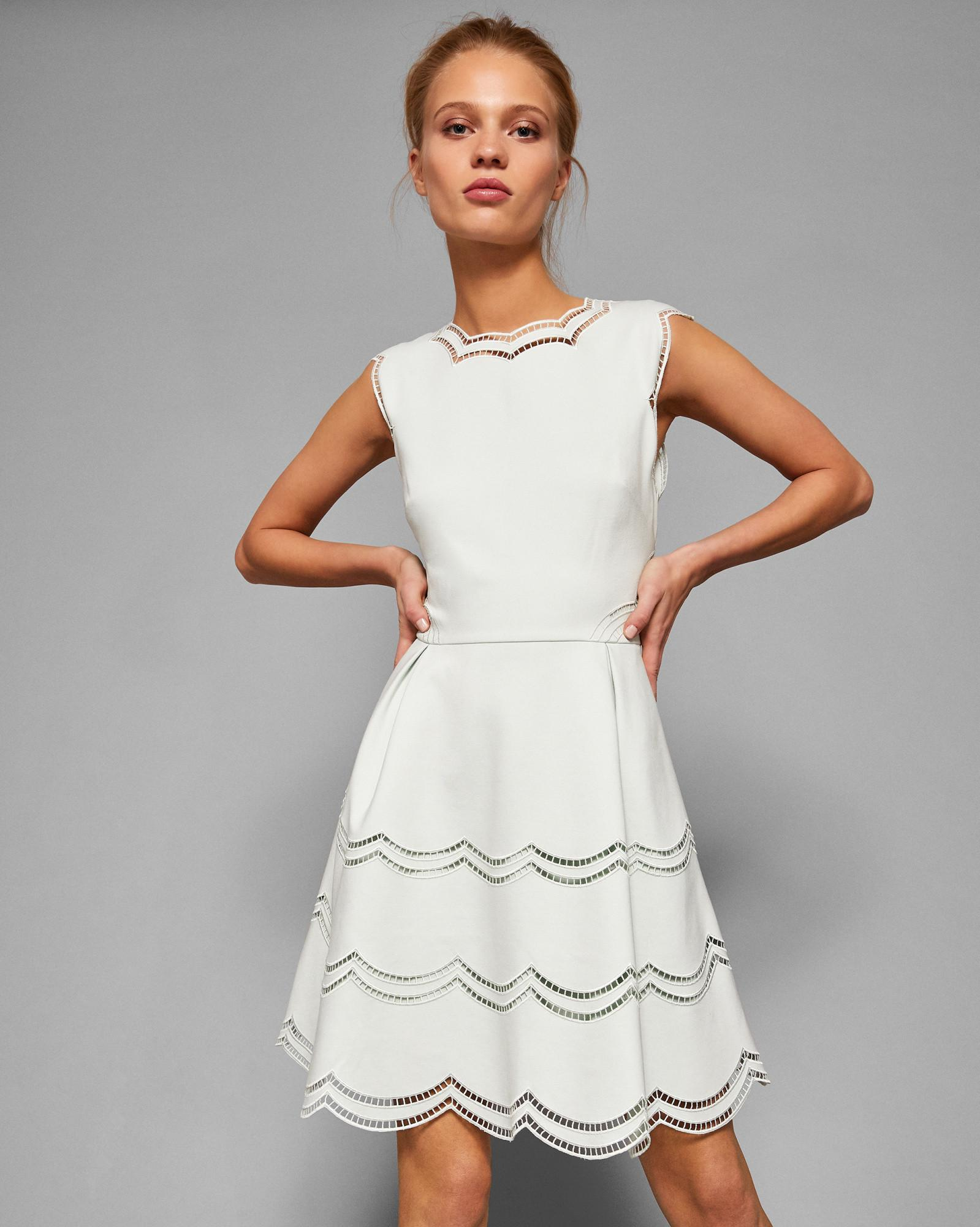 a88abf0721 Ted Baker Embroidered Scallop Detail Skater Dress in White - Lyst