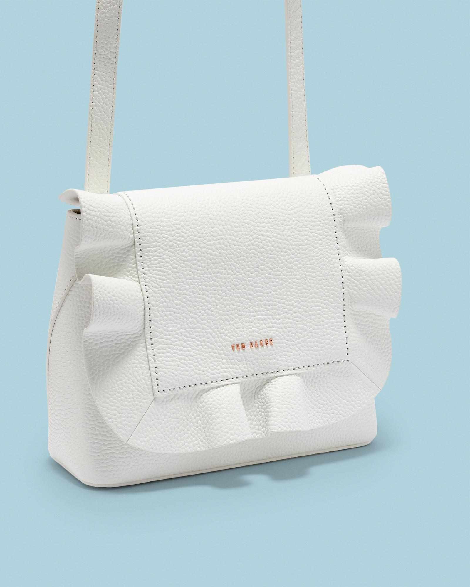 e19ecb7ce Ted Baker Leather Ruffle Multiway Backpack in White - Lyst