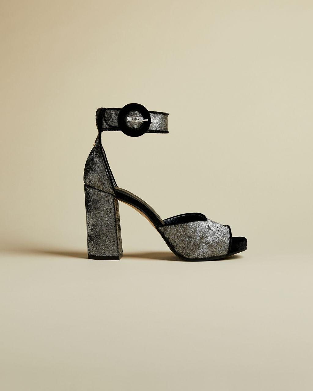 Zapatos De Tacón Abiertos Con Tacón Ancho Ted Baker de Caucho de color Gris