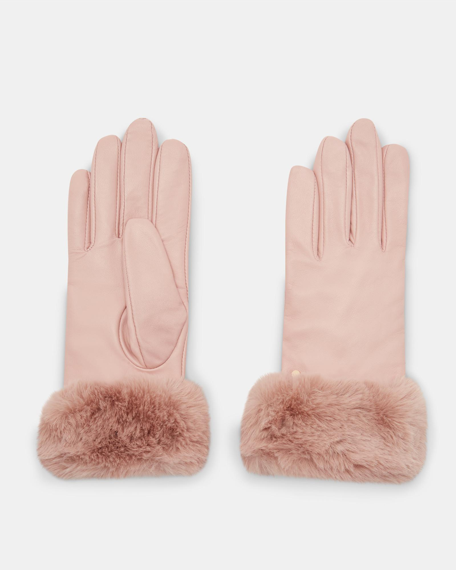 b3277ab54140 Ted Baker Faux Fur Trim Gloves in Pink - Lyst