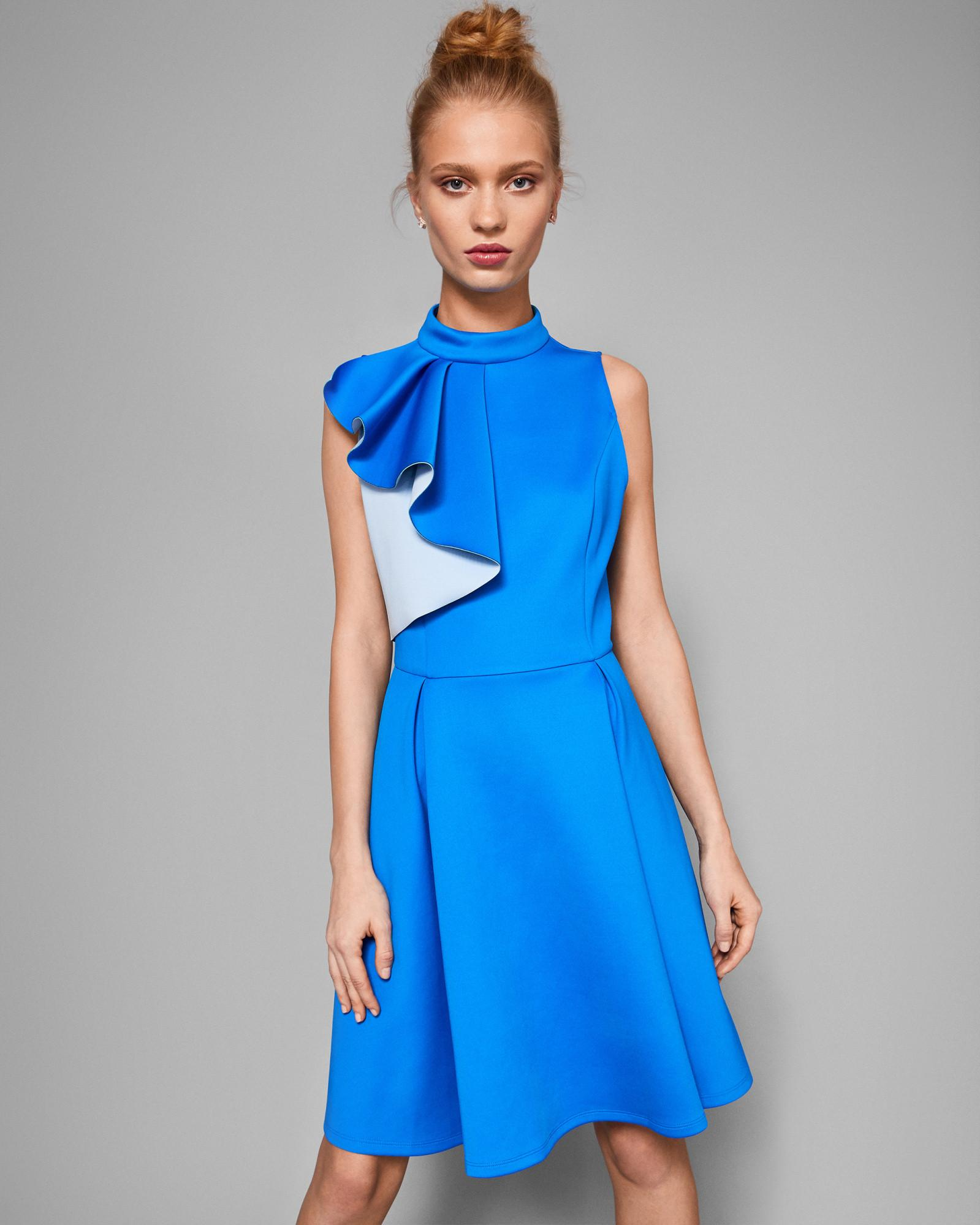 fd6549a196 Ted Baker Ruffle Detail Skater Dress in Blue - Save 40% - Lyst