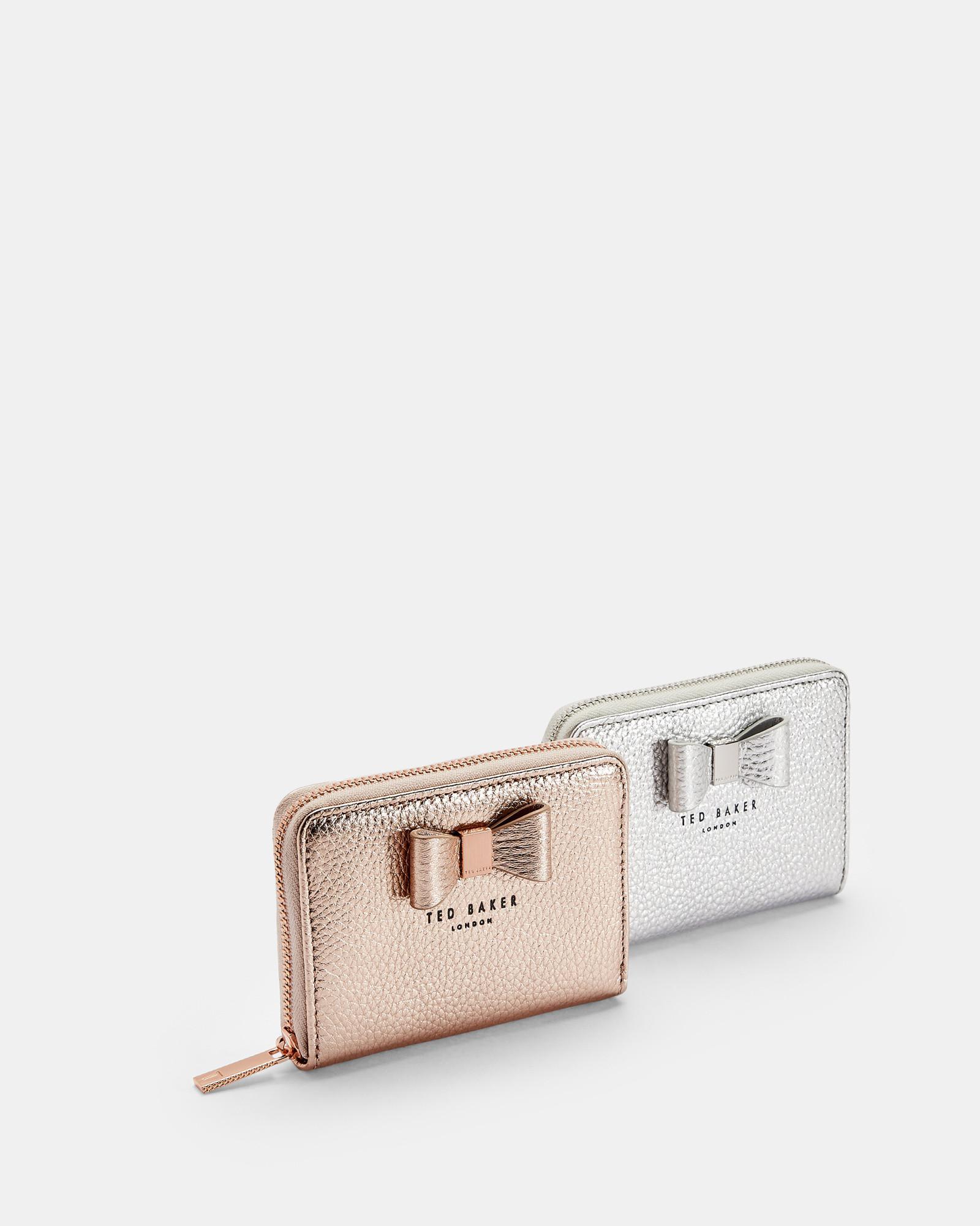 78cdb3b3178 Ted Baker Metallic Bow Small Leather Purse - Lyst