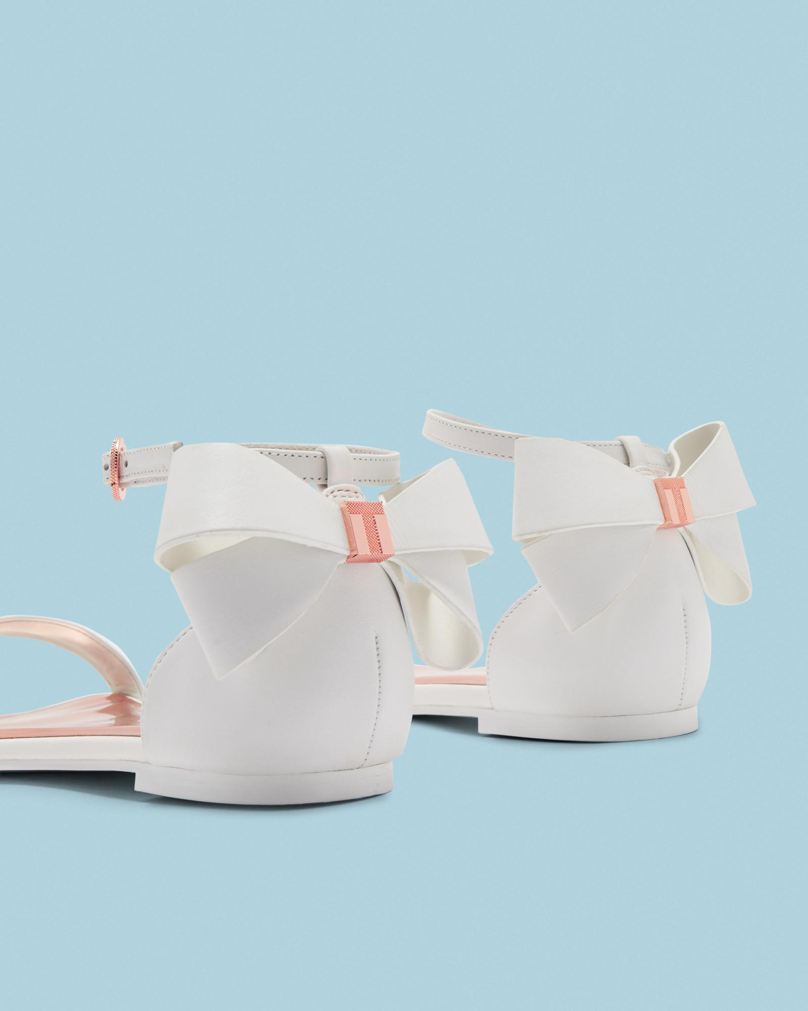 Ted Baker Suede Bow Heel Flat Sandals