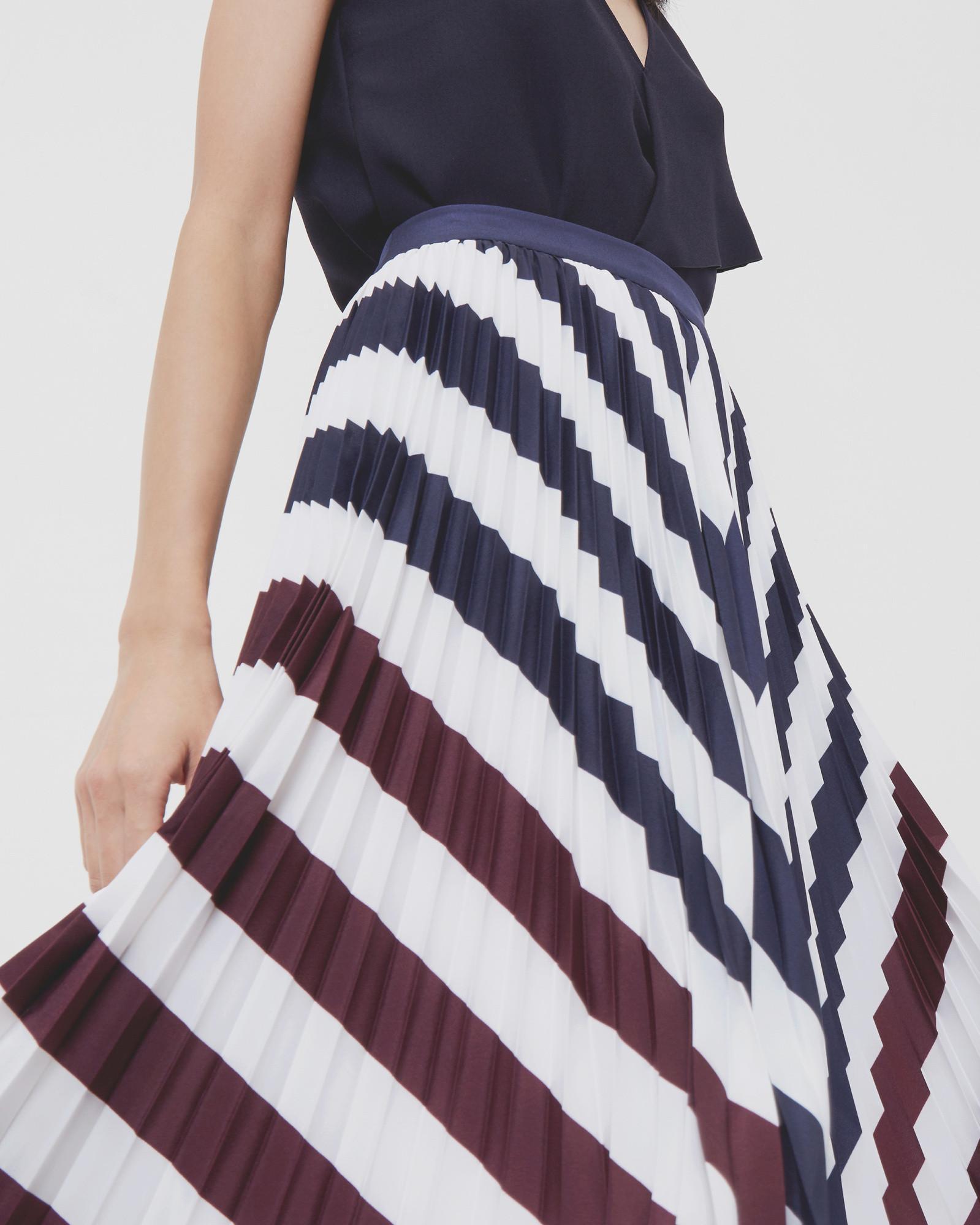 Ted Baker Rowing Stripe Pleated Midi Skirt in Navy (Blue)