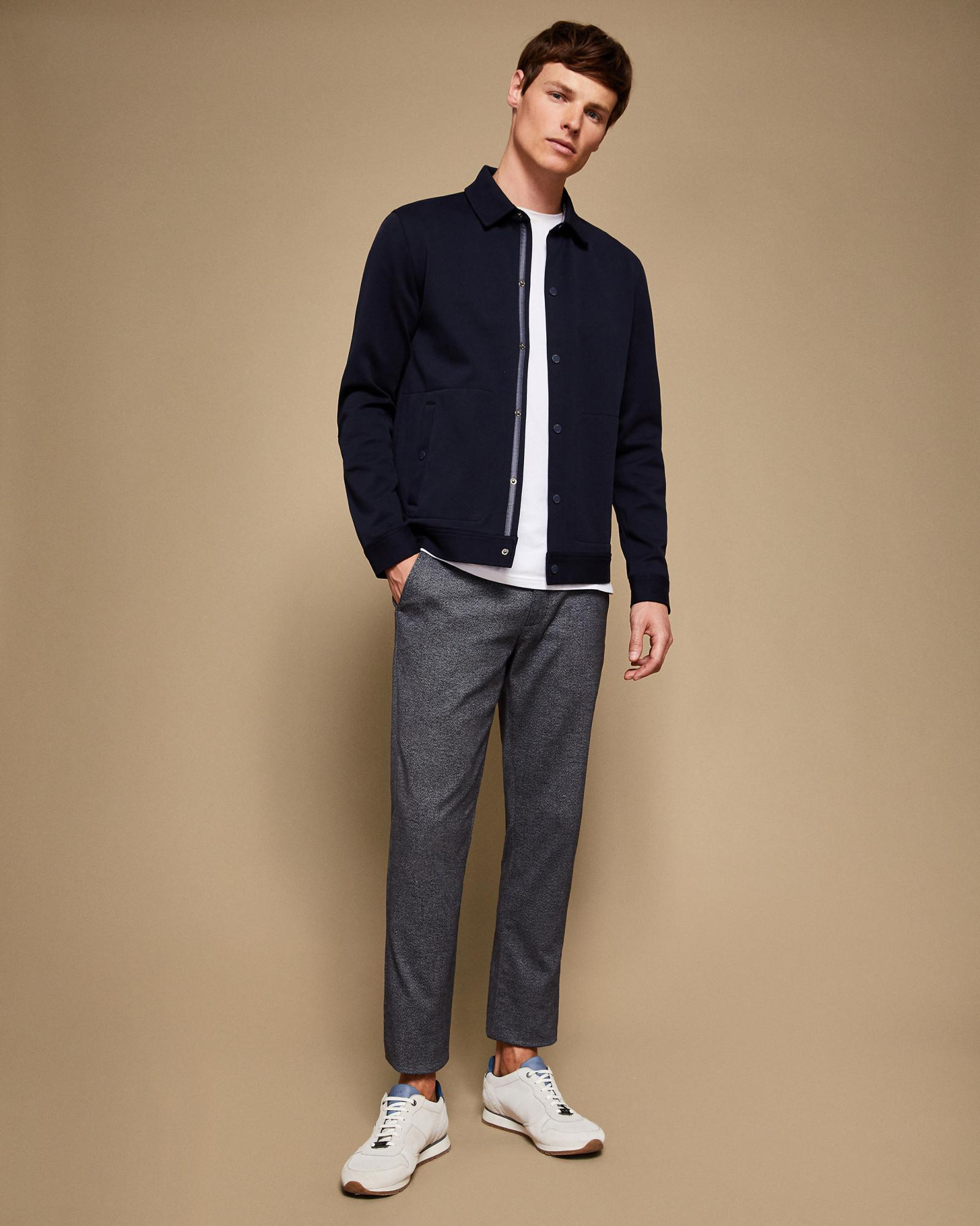 Ted Baker Cotton Slim Fit Textured Trouser in Navy (Blue) for Men