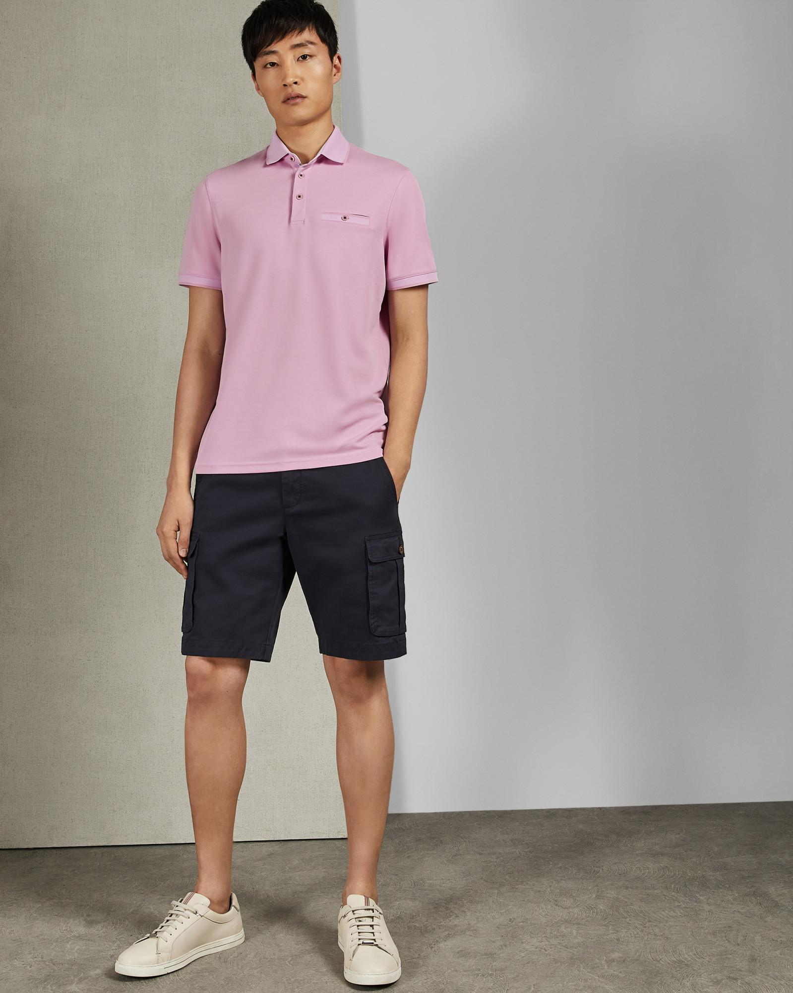 ecaffd20af0b Lyst - Ted Baker Flat Knit Polo Shirt in Pink for Men