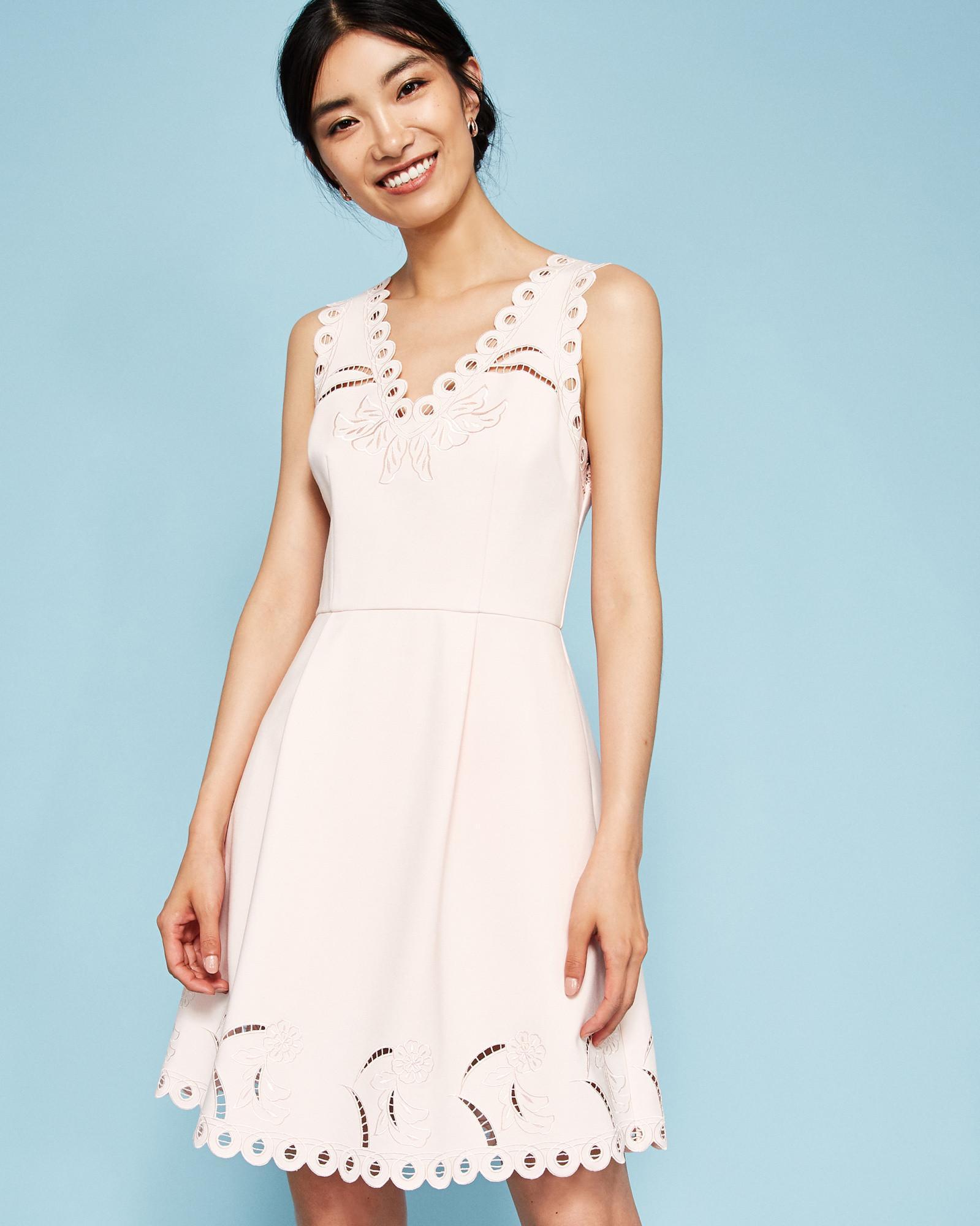 f456cf9029 Ted Baker V-neck Embroidered Skater Dress in Pink - Lyst