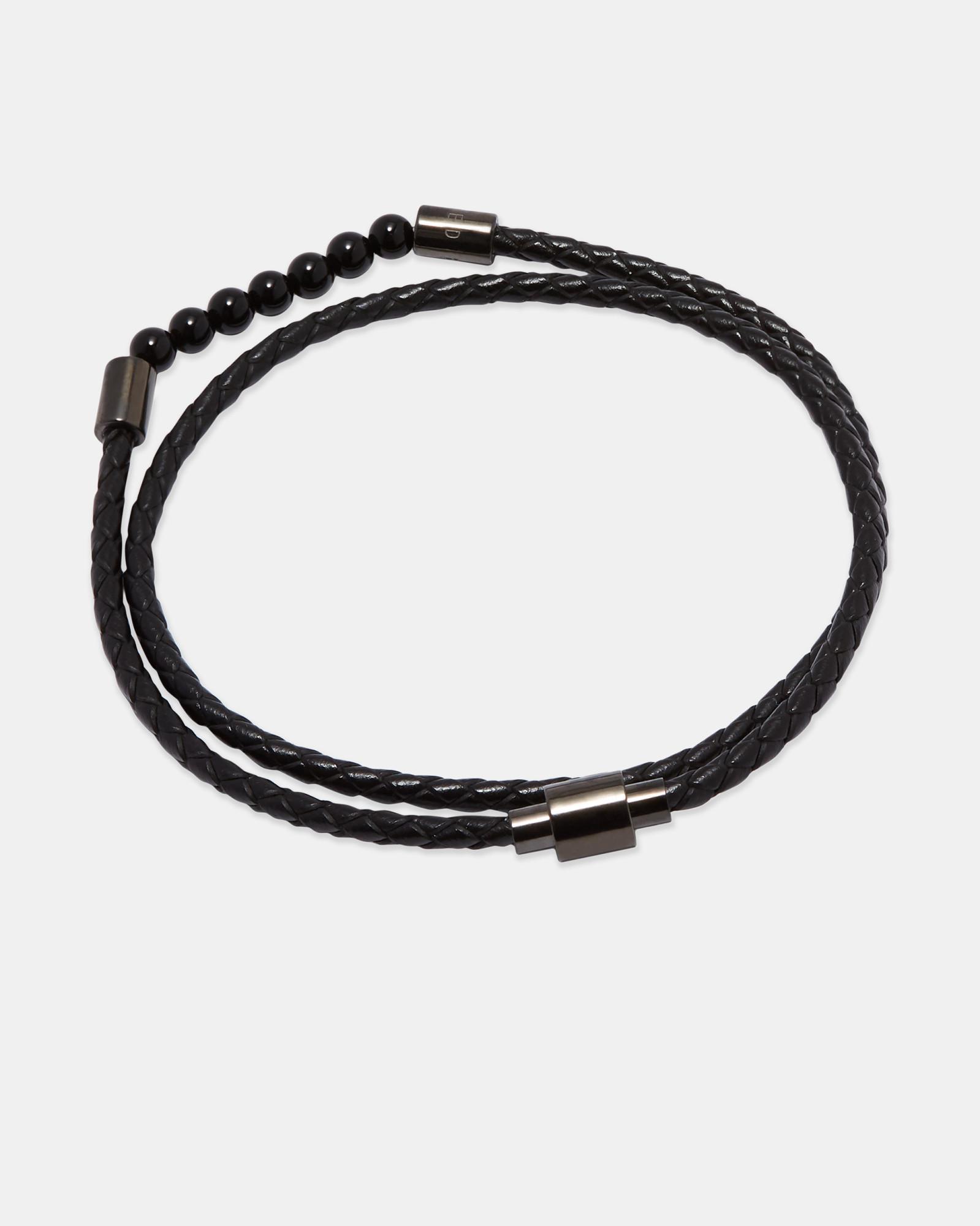 8057407f8 Lyst - Ted Baker Beaded Leather Double Wrap Bracelet in Black for Men