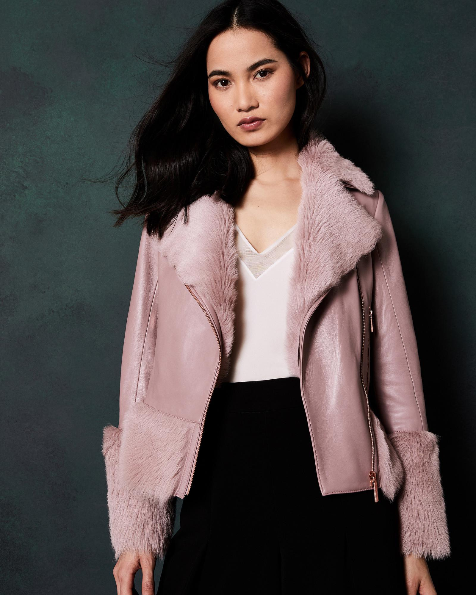 35cb0ae7b Lyst - Ted Baker Shearling Leather Biker Jacket in Pink