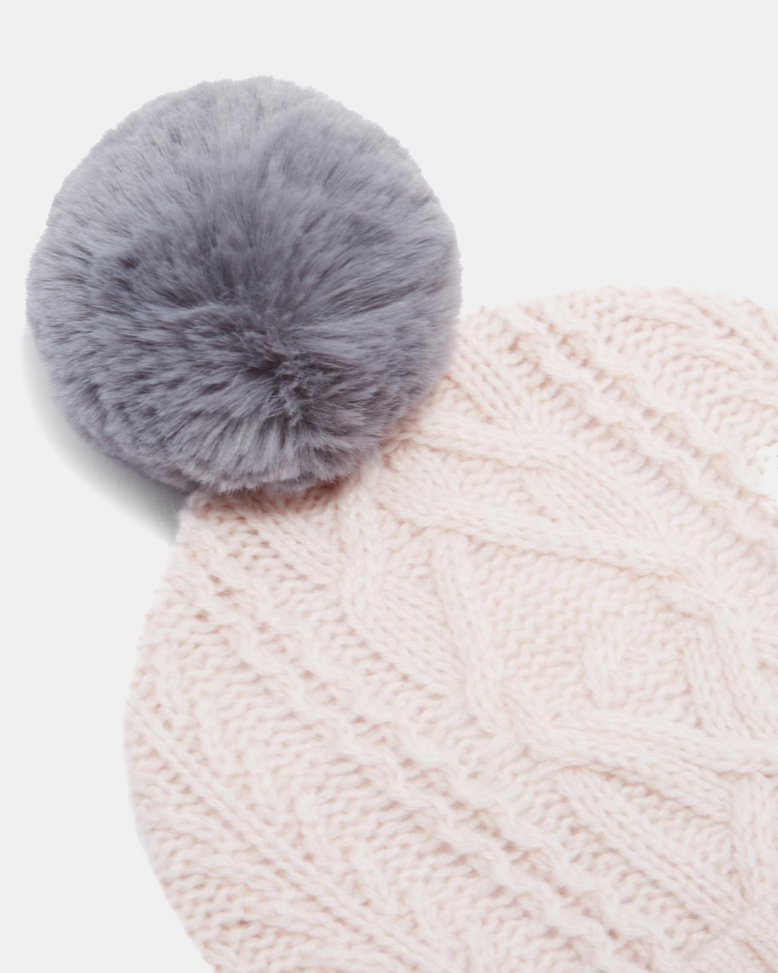 e38f4130aa502 Lyst - Ted Baker Cable Knit Wool-blend Bobble Hat in Pink