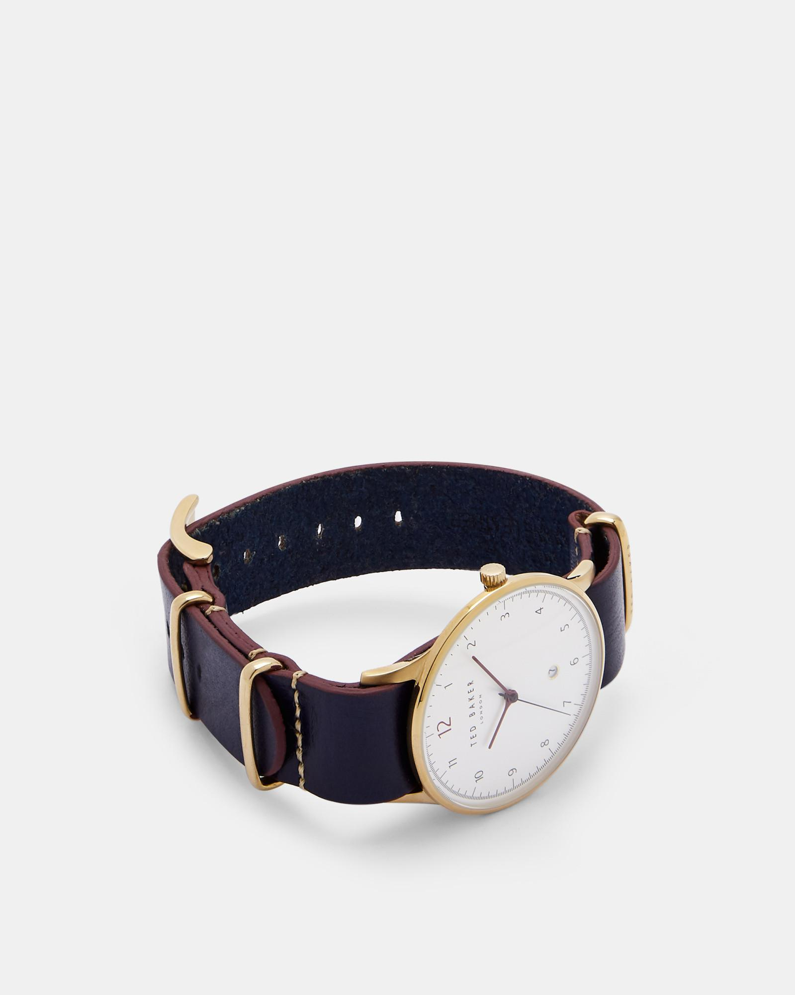e5dc1f5b09516 Ted Baker - Blue Stab Stitch Leather Strap Watch for Men - Lyst. View  fullscreen