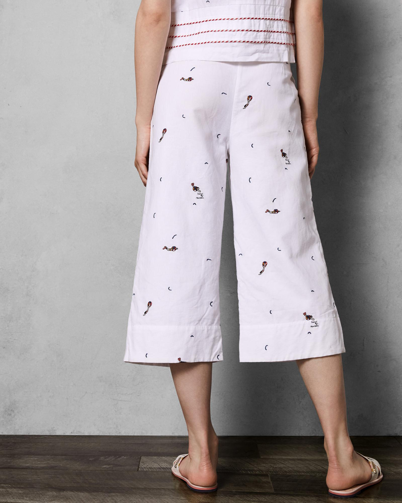 c08a7b7bd Lyst - Ted Baker Stitch Detail Culottes in White