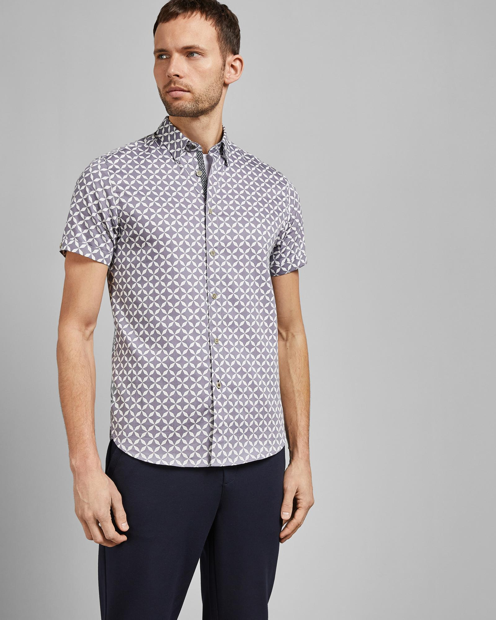 58156b03ee3d Lyst - Ted Baker Geo Print Cotton Shirt in Purple for Men