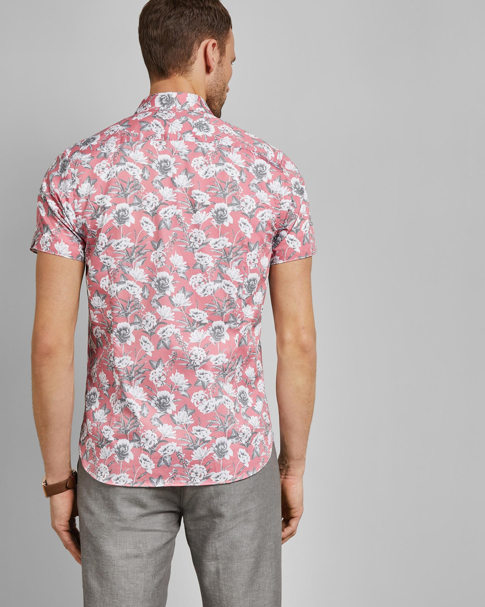 b71fe4e2bf55 Lyst - Ted Baker Floral Print Cotton Shirt in Pink for Men