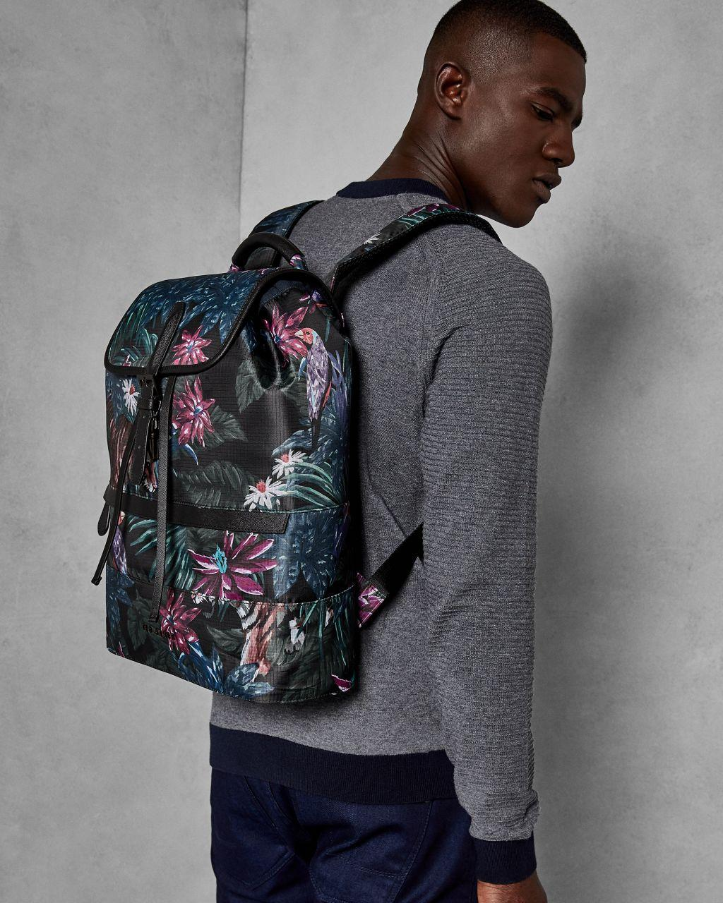 Ted Baker Cotton Jungle Print Backpack in Black for Men