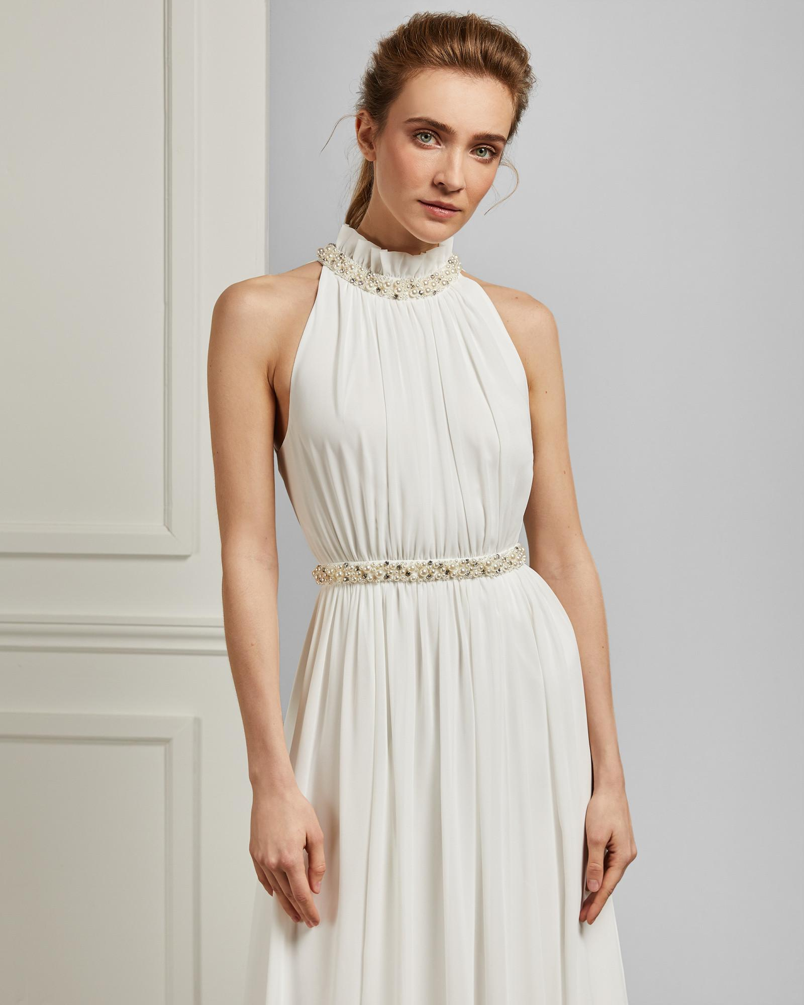 3c012f8a2 Ted Baker Ruched Neck Pearl Maxi Dress in White - Lyst