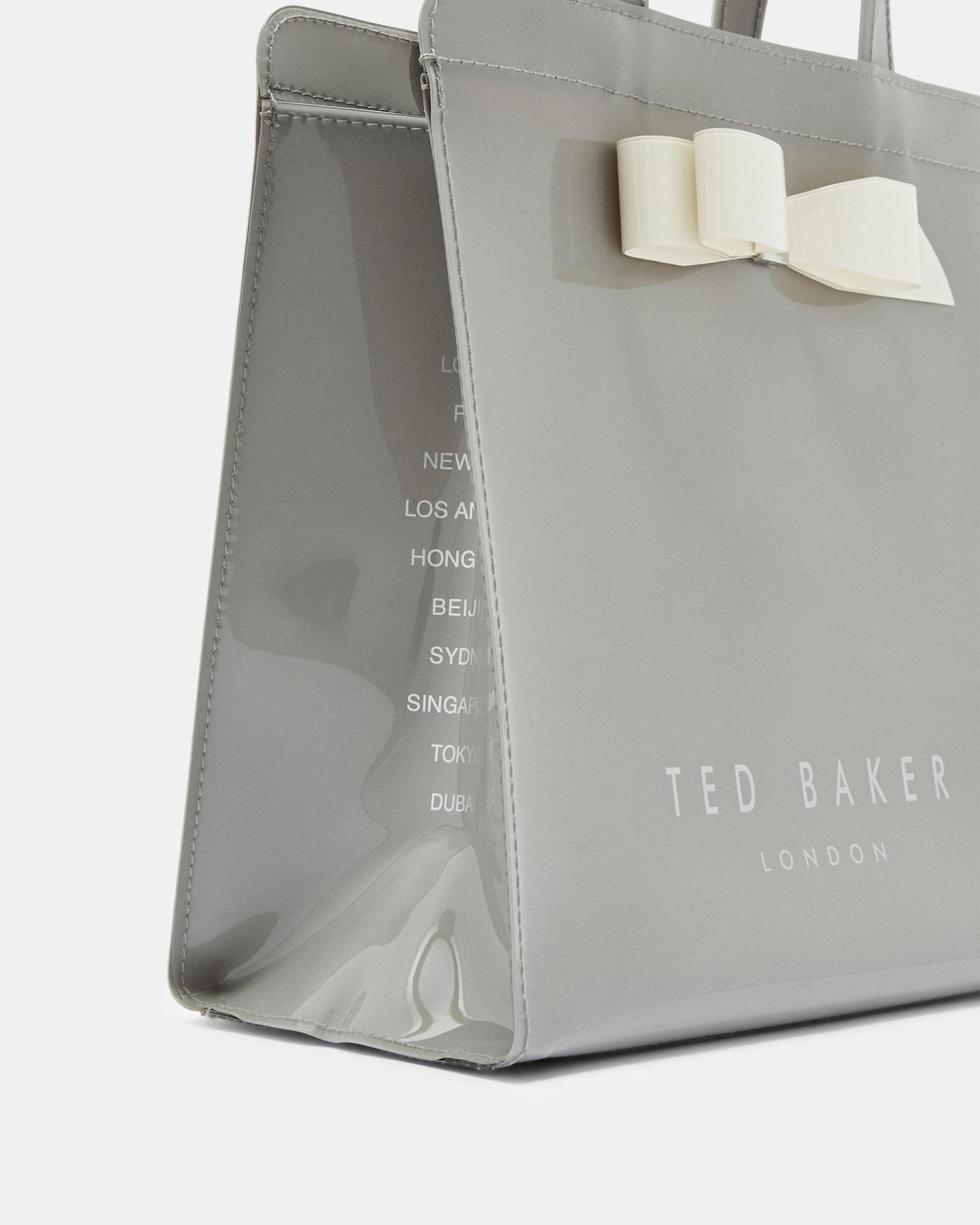 8d1ca8cbf13ca Lyst - Ted Baker Bow Detail Small Icon Bag in Gray