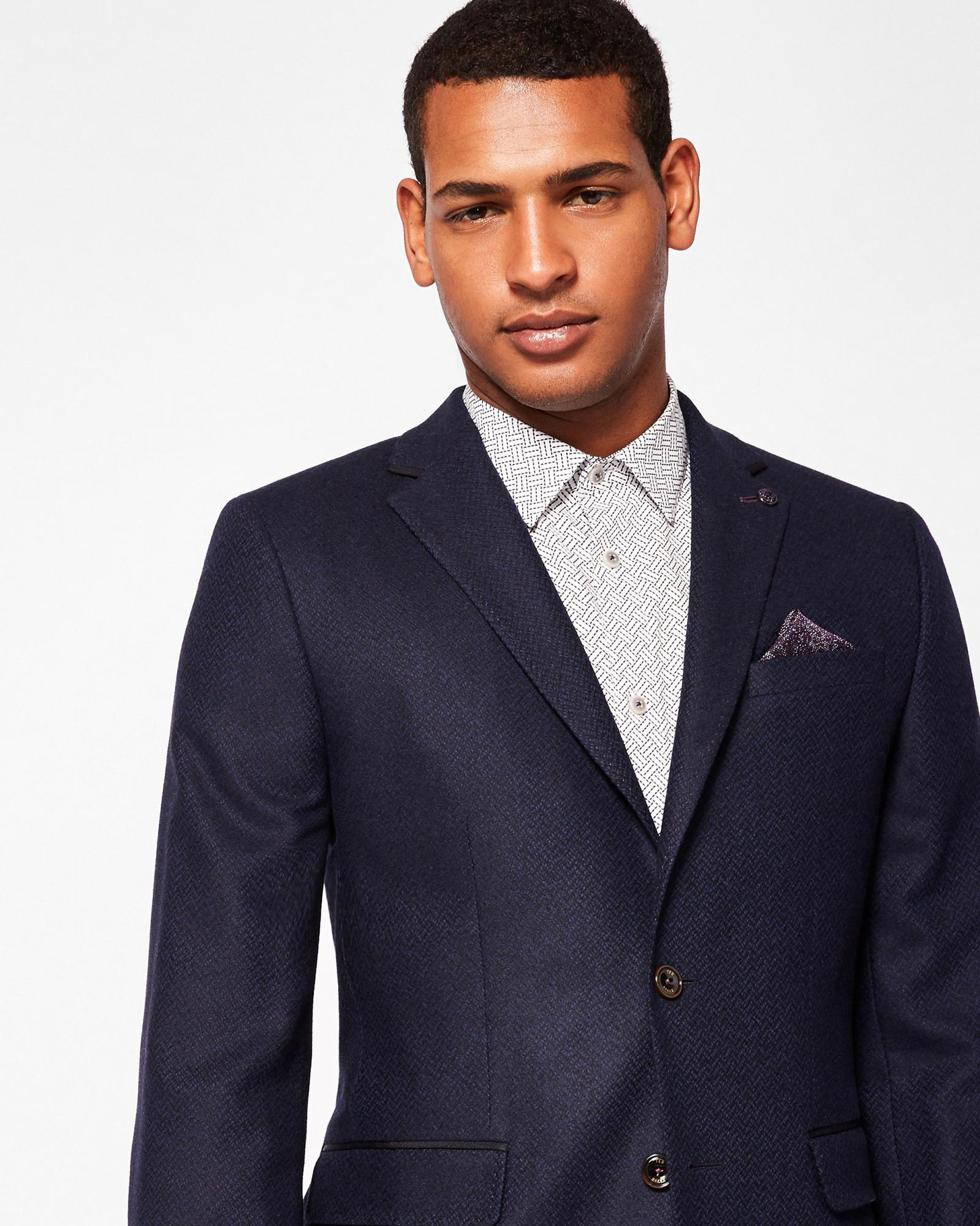 5e54d9ece4de5e Lyst - Ted Baker Semi Plain Wool-blend Jacket in Blue for Men