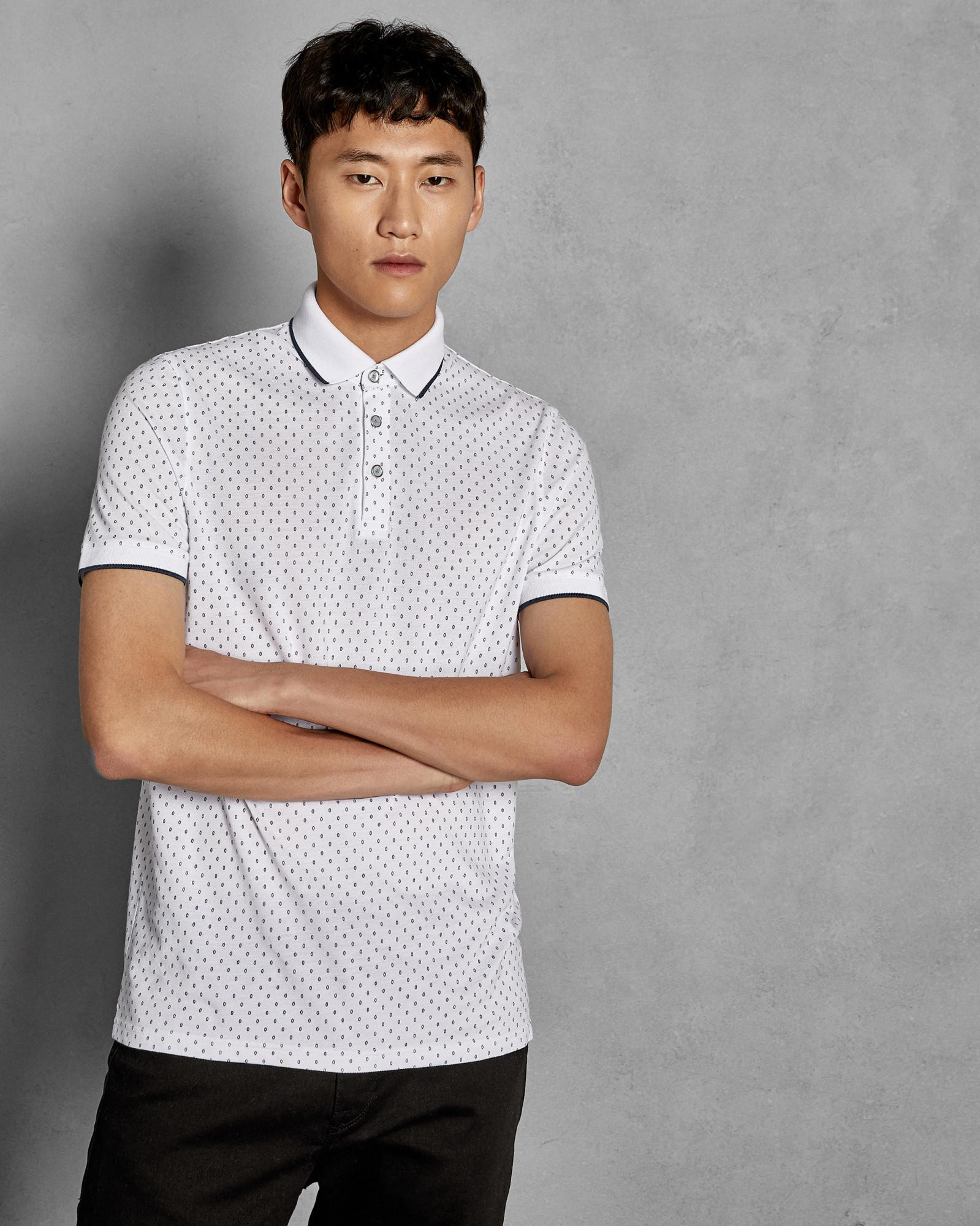 0bd49cf77c15 Lyst - Ted Baker Geo Print Cotton Polo Shirt in White for Men